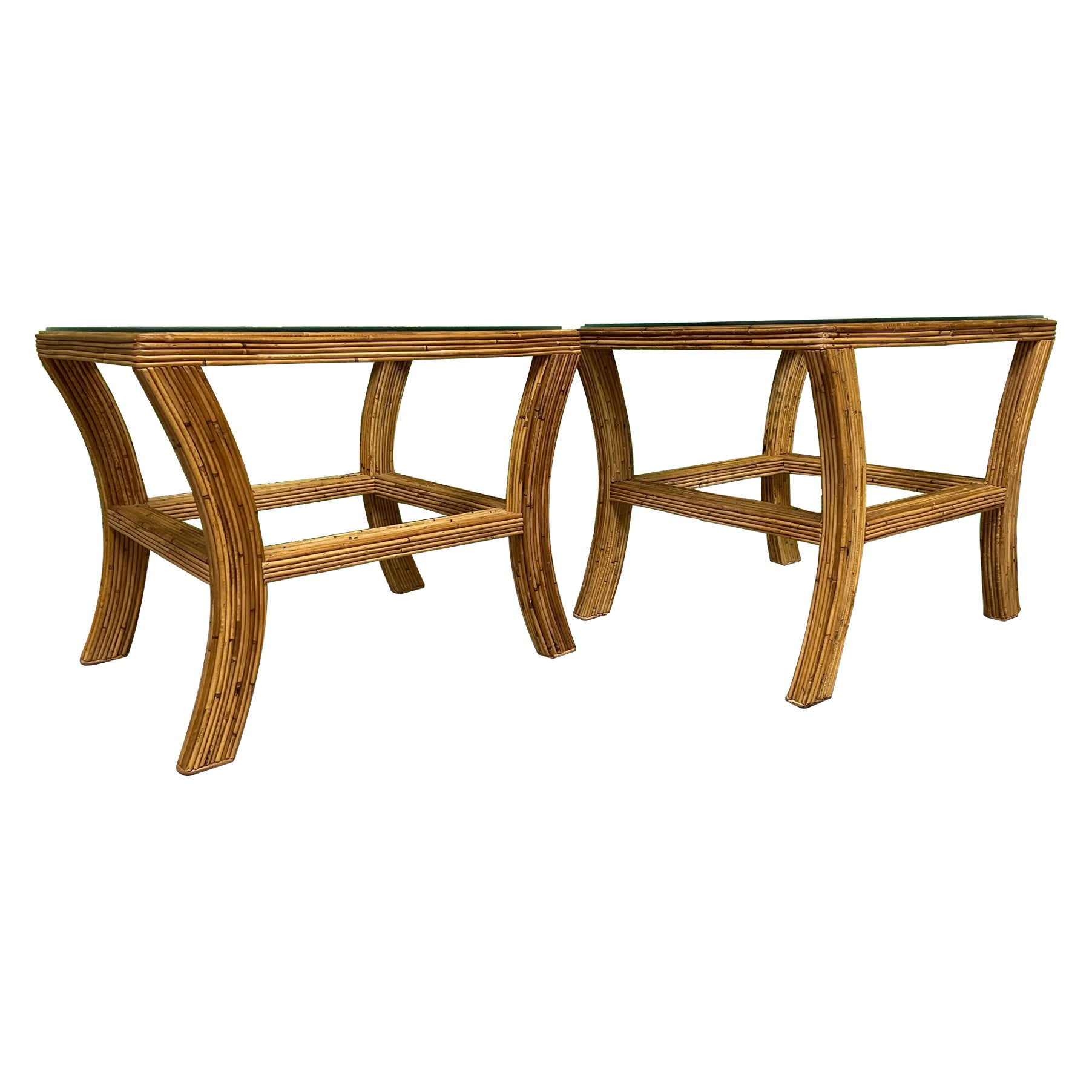 Pencil Reed Rattan and Glass End or Side Tables, a Pair
