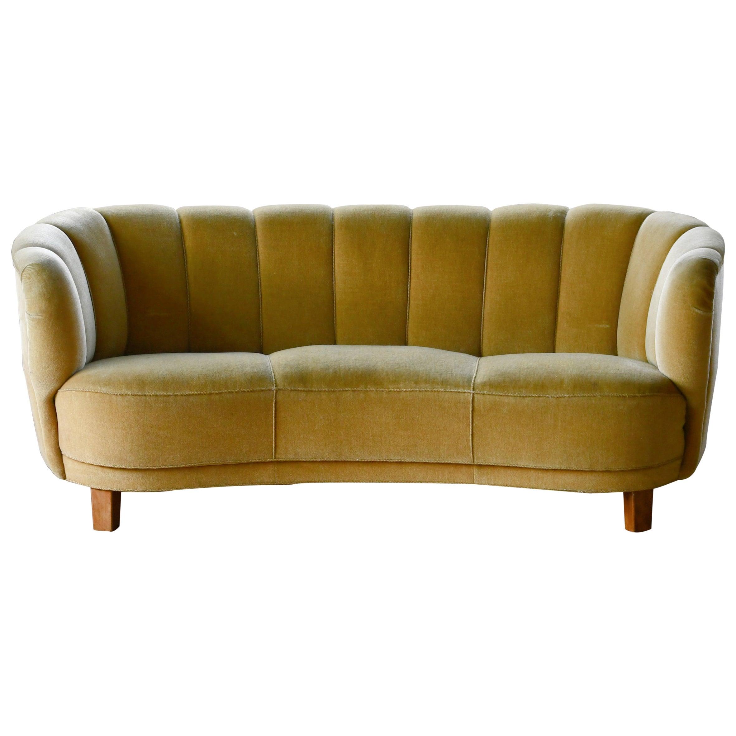 Danish Banana Form Curved Sofa in Original Golden Green Mohair, 1940s
