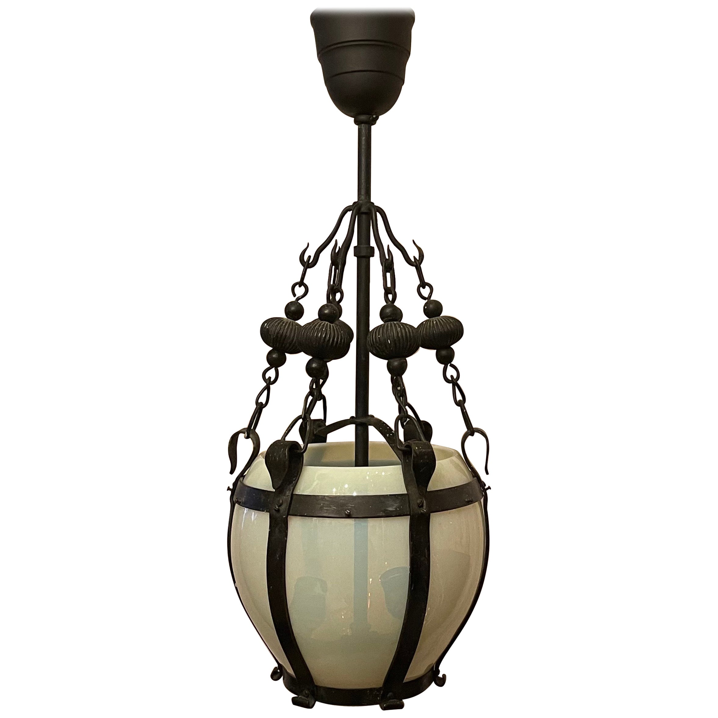 Wonderful French Art Deco Opaline Glass and Wrought Iron Lantern Pendent Fixture