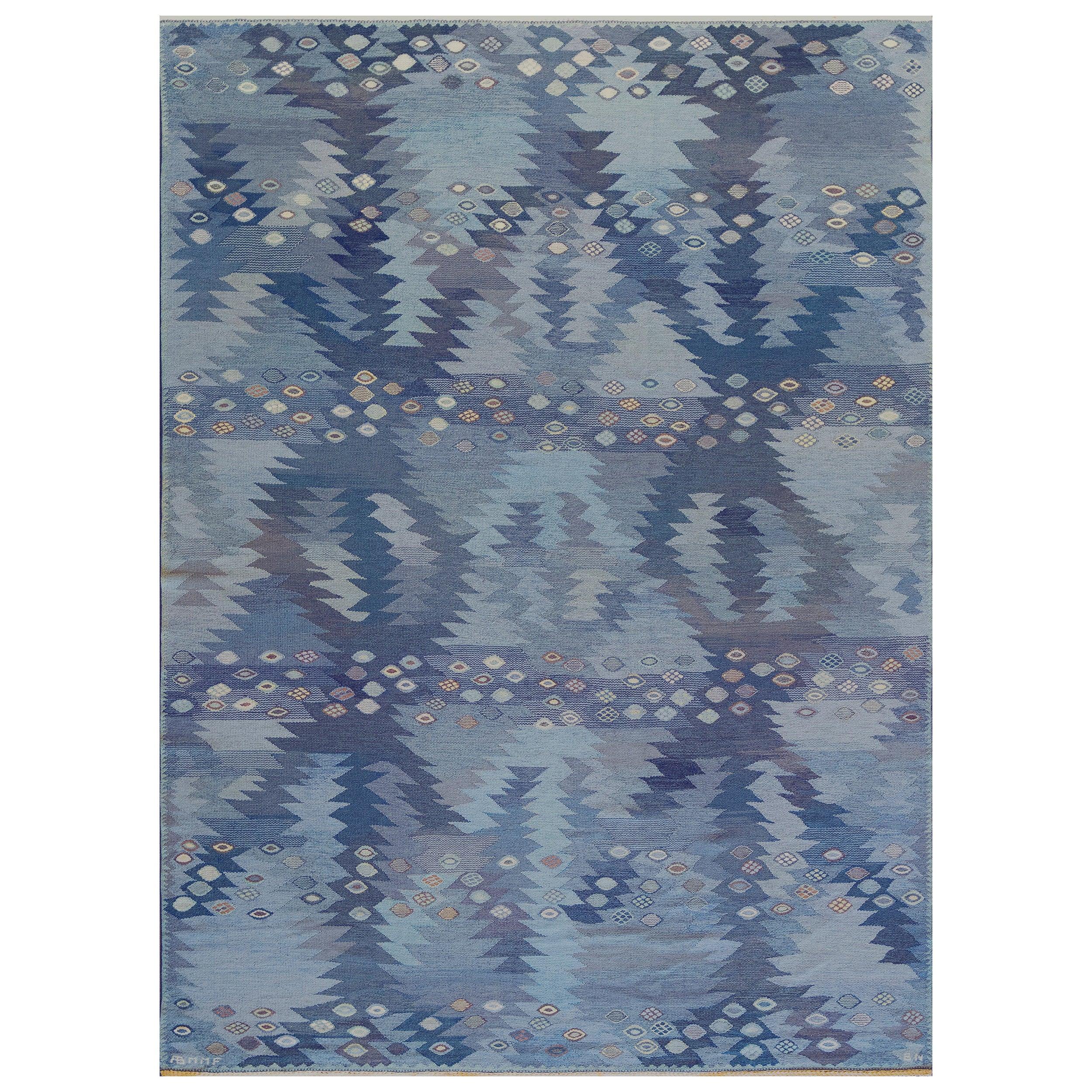 Signed Midcentury Handwoven Wool Swedish Rug
