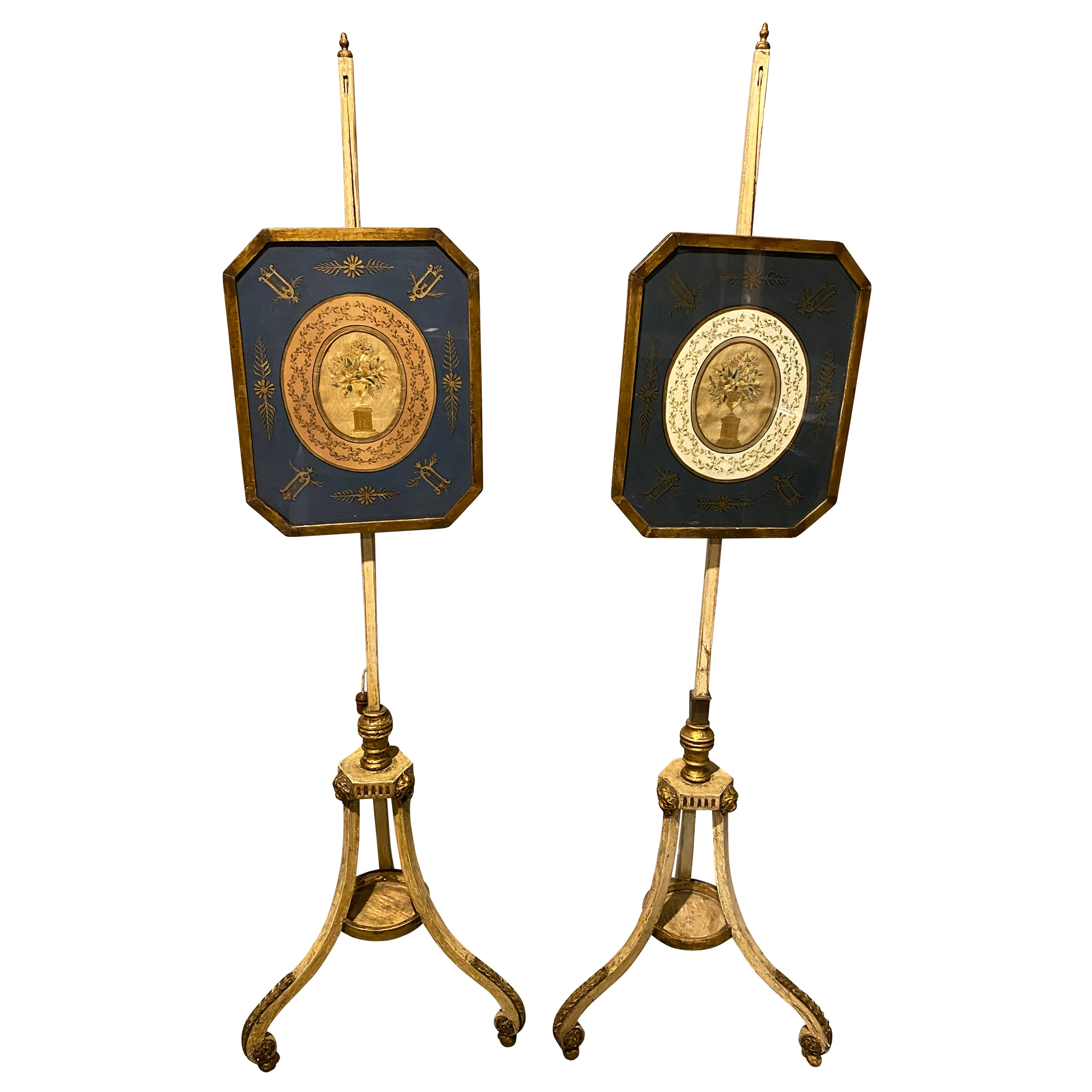 Pair of George III Painted and Giltwood Pole Screens