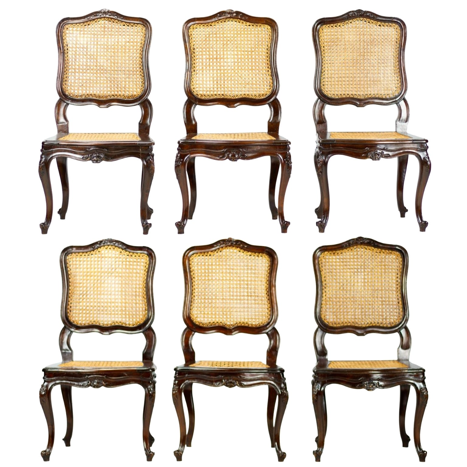 Set of Six French 19th Century Louis XV Style Caned Dining Chairs in Walnut