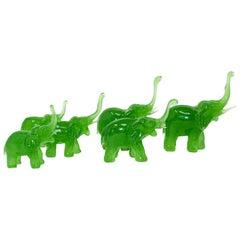 Vintage Green Glass Elephants Group Sculptures