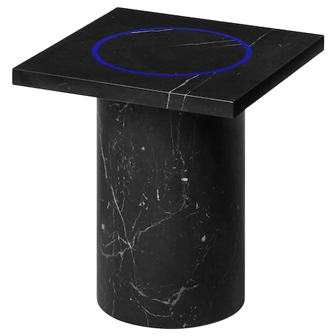 Black Marquina Marble Square Side Table from Dislocation by Studio Buzao