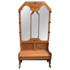 Dr C.Dresser Style of, Aesthetic Movement Oak Hall Stand with Floral Decoration