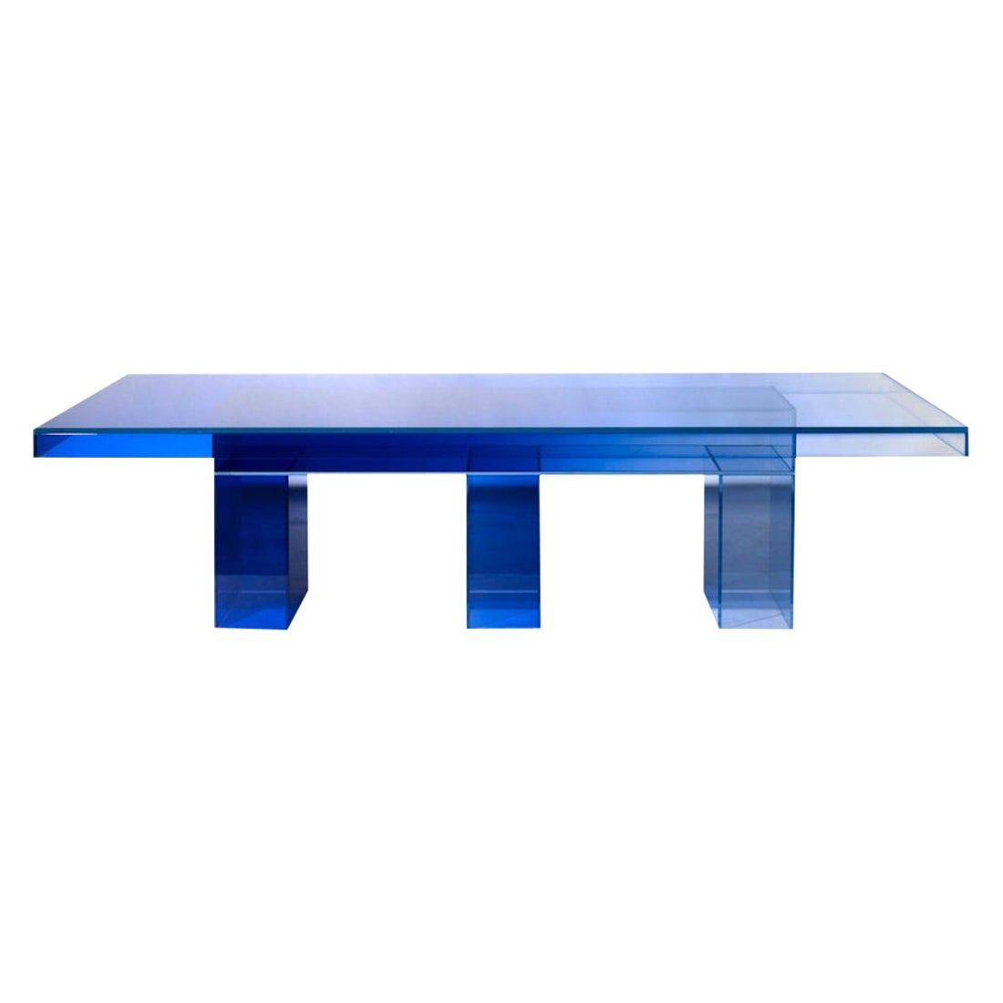 Blue Glass Clear Transition Color Dining Table by Studio Buzao Customizable