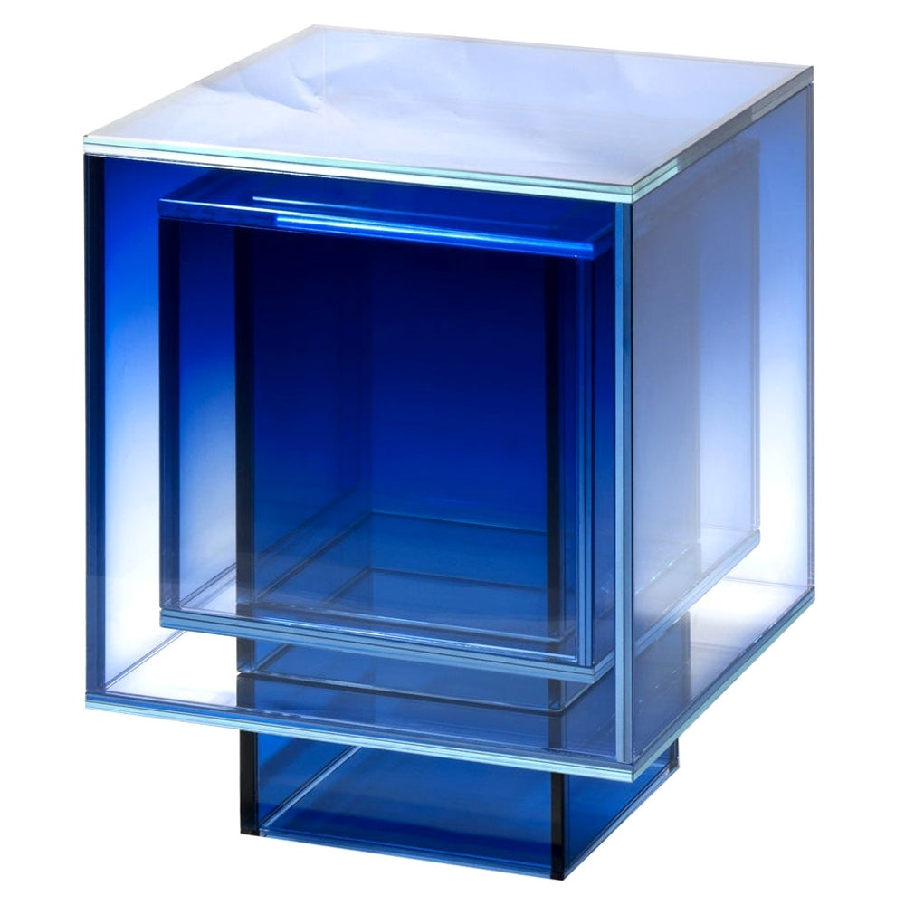 Blue Glass Clear Transition Color Square Table by Studio Buzao Customizable