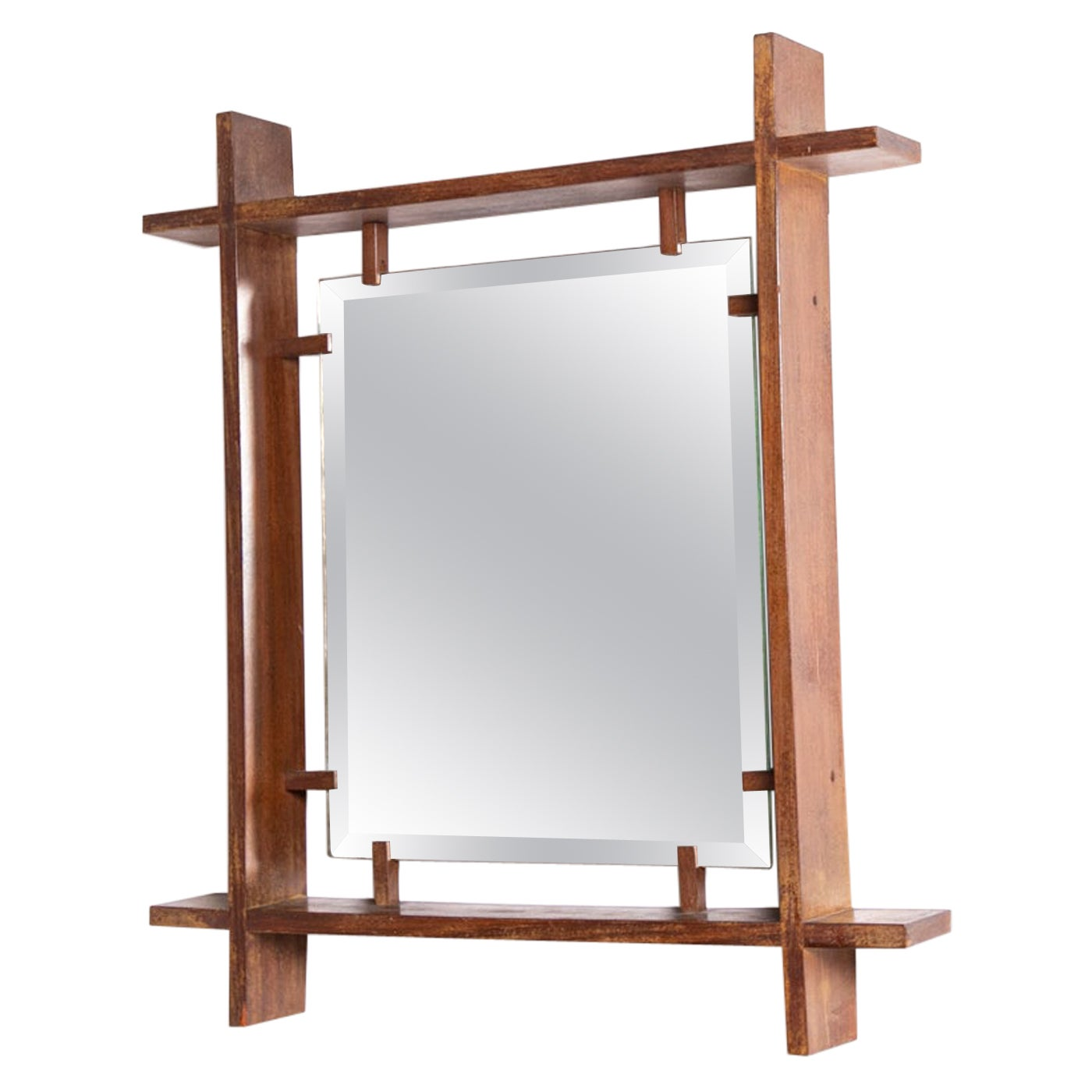 Italian Mirror Attributed to Ettore Sottsass in Wood, 1950s
