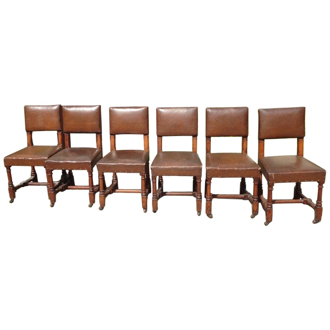 AWN Pugin, Six Gothic Revival Oak Dining Chairs Probably for the House of Lords