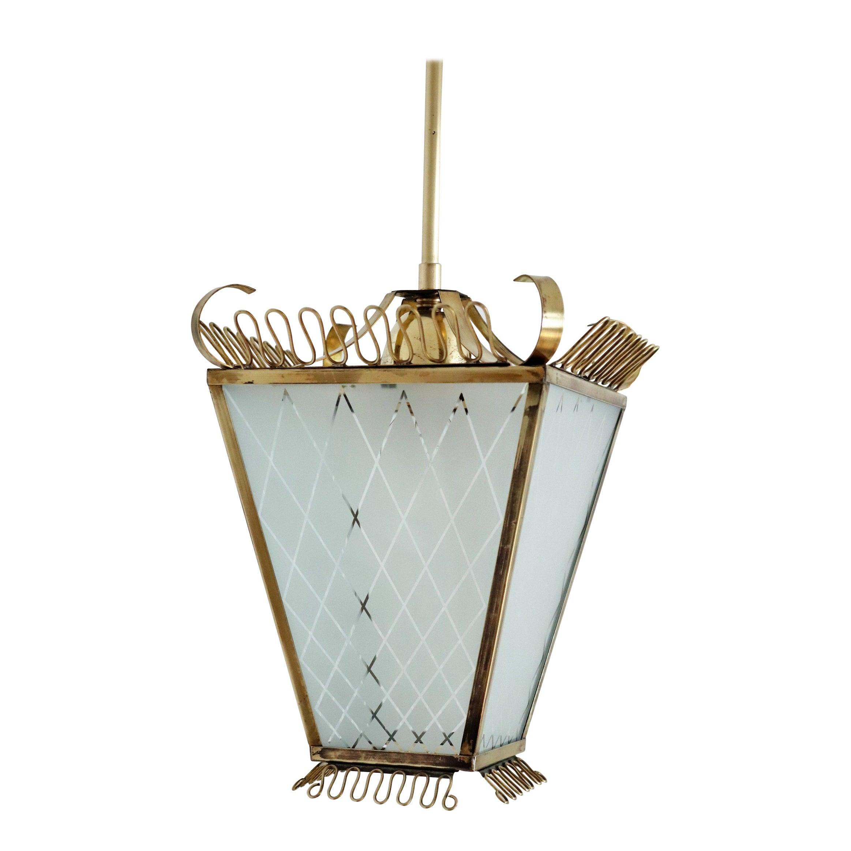 Italian Midcentury Brass and Glass Lantern or Pendant Lamp, 1950