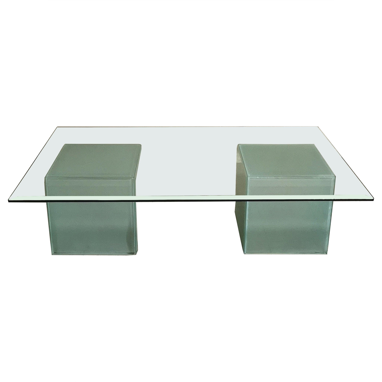 Mid-Century Modern Coffee Table in Glass, Italian Design, 1980s