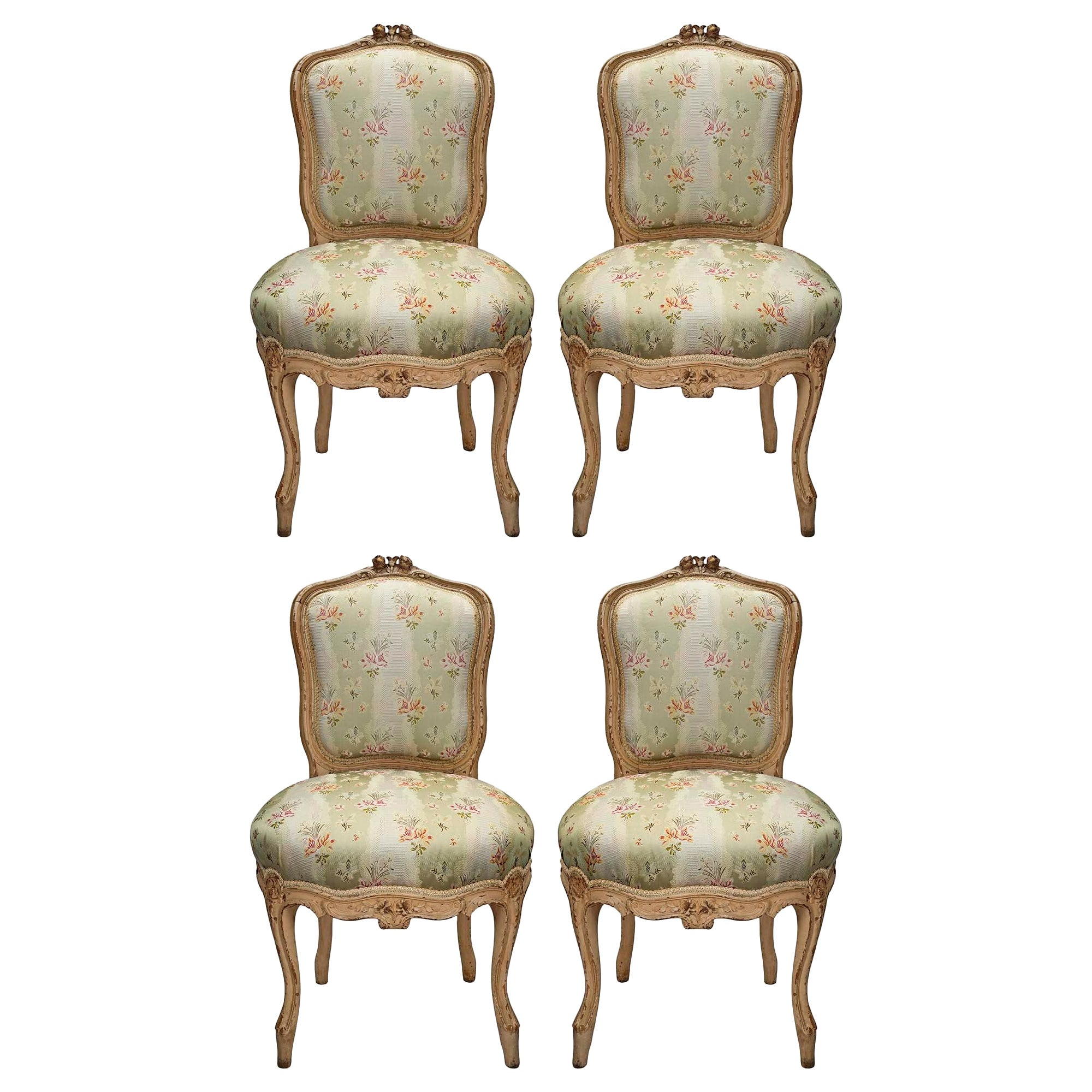 Set of Four French Mid-19th Century Louis XV Style Carved Chairs