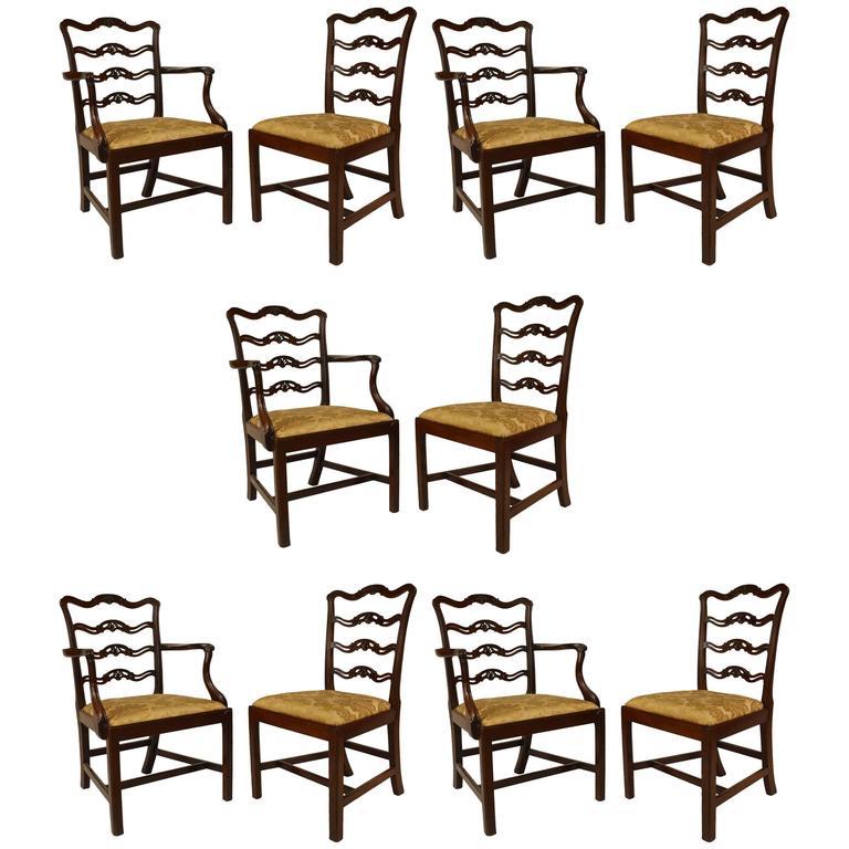 Set of Ten 19th Century English Georgian Style Mahogany Ladder Back Chairs