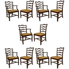 Set of Ten 19th Century English Georgian Style Mahogany Ladder Back Chairs