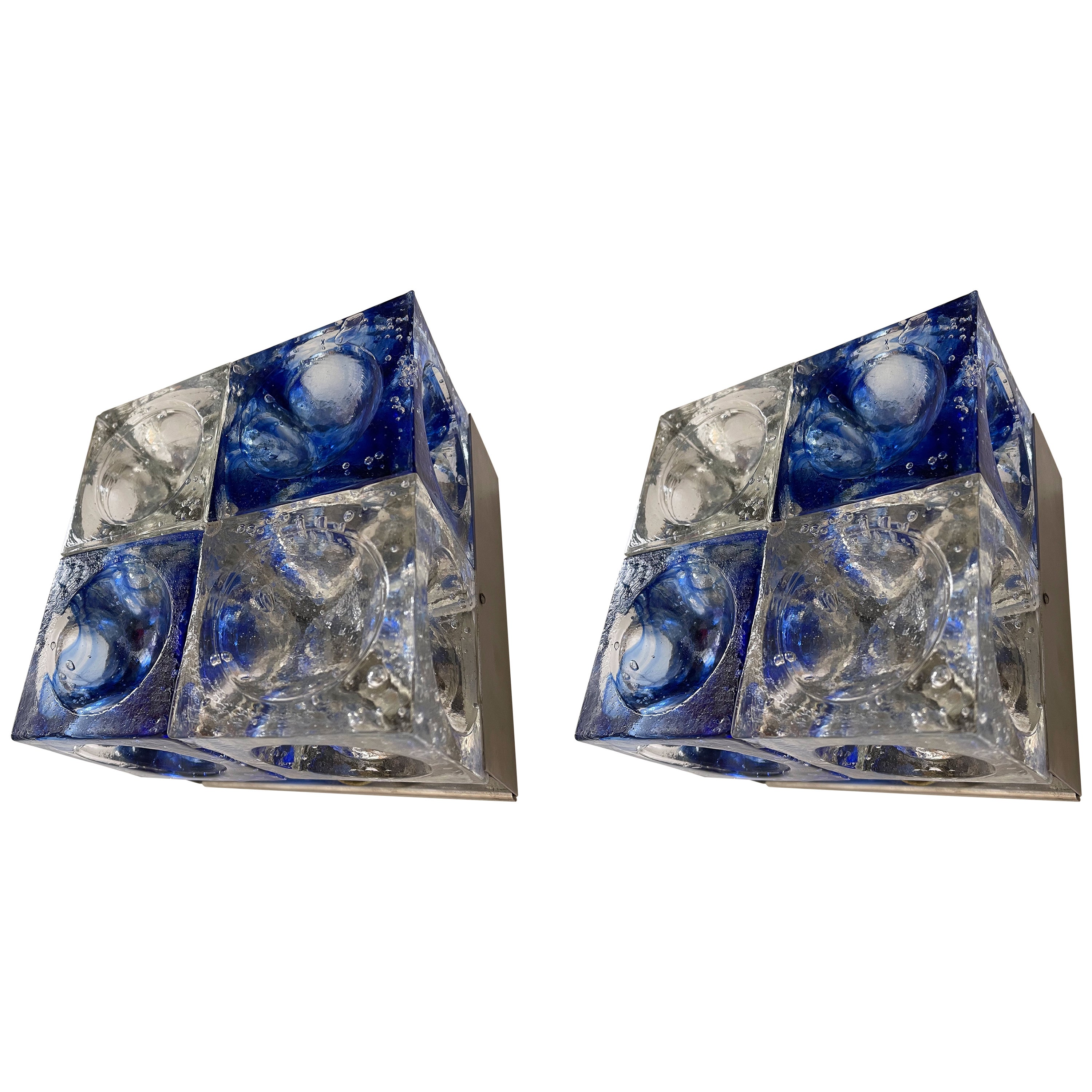 Pair of Blue Glass Cube Sconces by Poliarte, Italy, 1970s