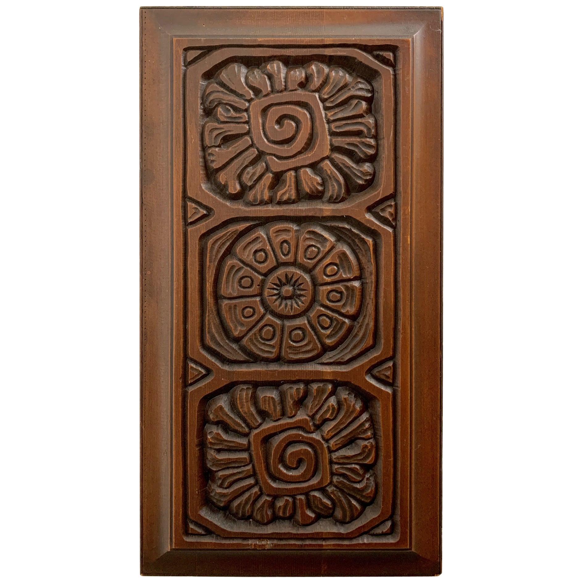 Midcentury Carved Redwood Panel