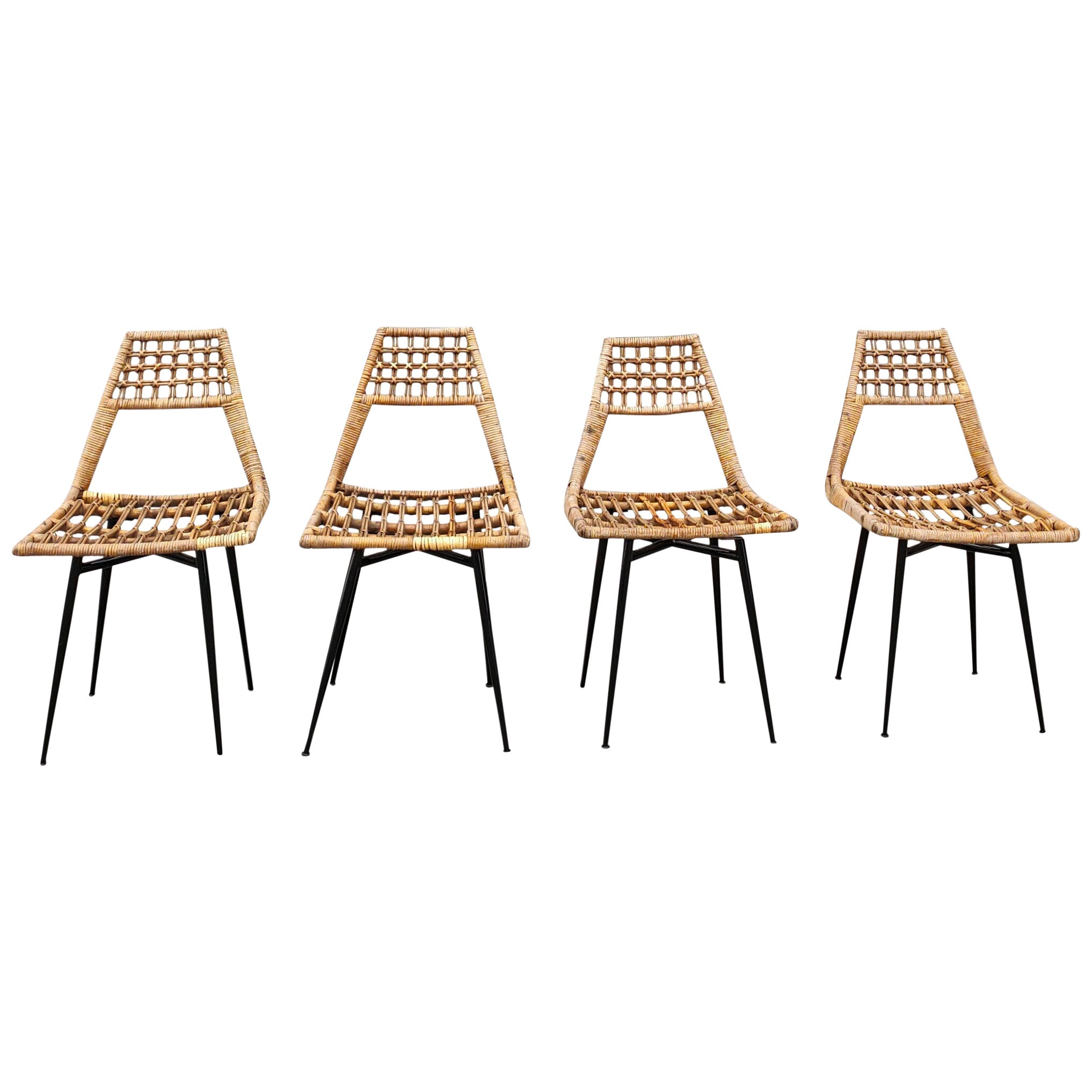 Set of Four Midcentury Basket Rattan Chairs, Italy, 1960s