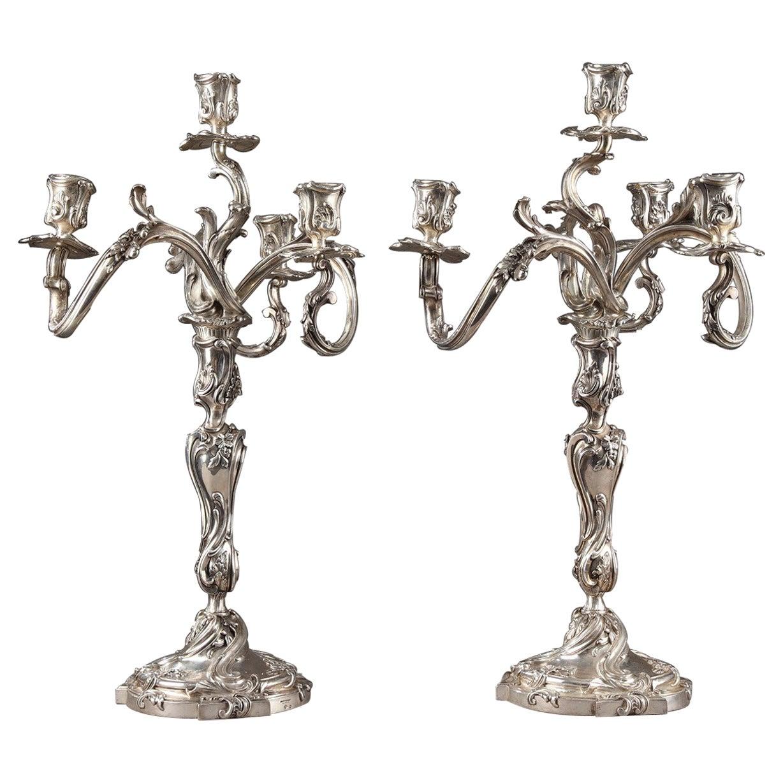 19th Century Silver Candelabra Signed BOIN TABURET