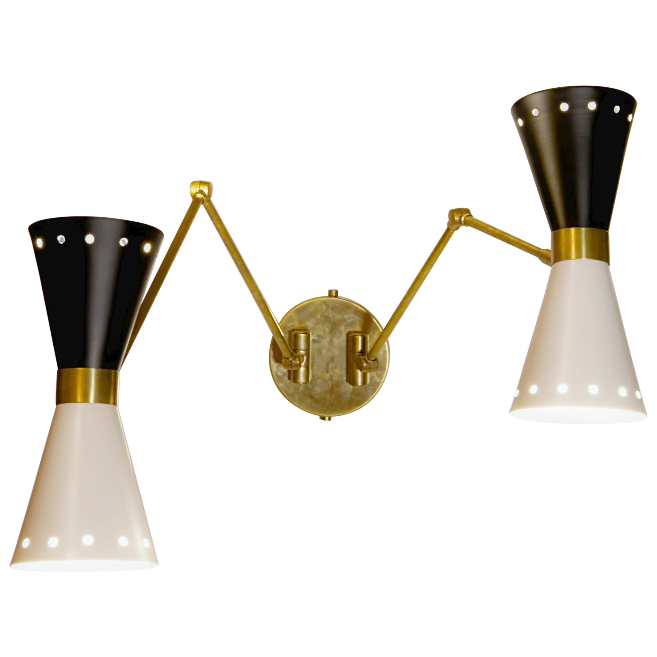 Doppio Double Articulated Sconce, Midcentury Stilnovo Style Solid Brass