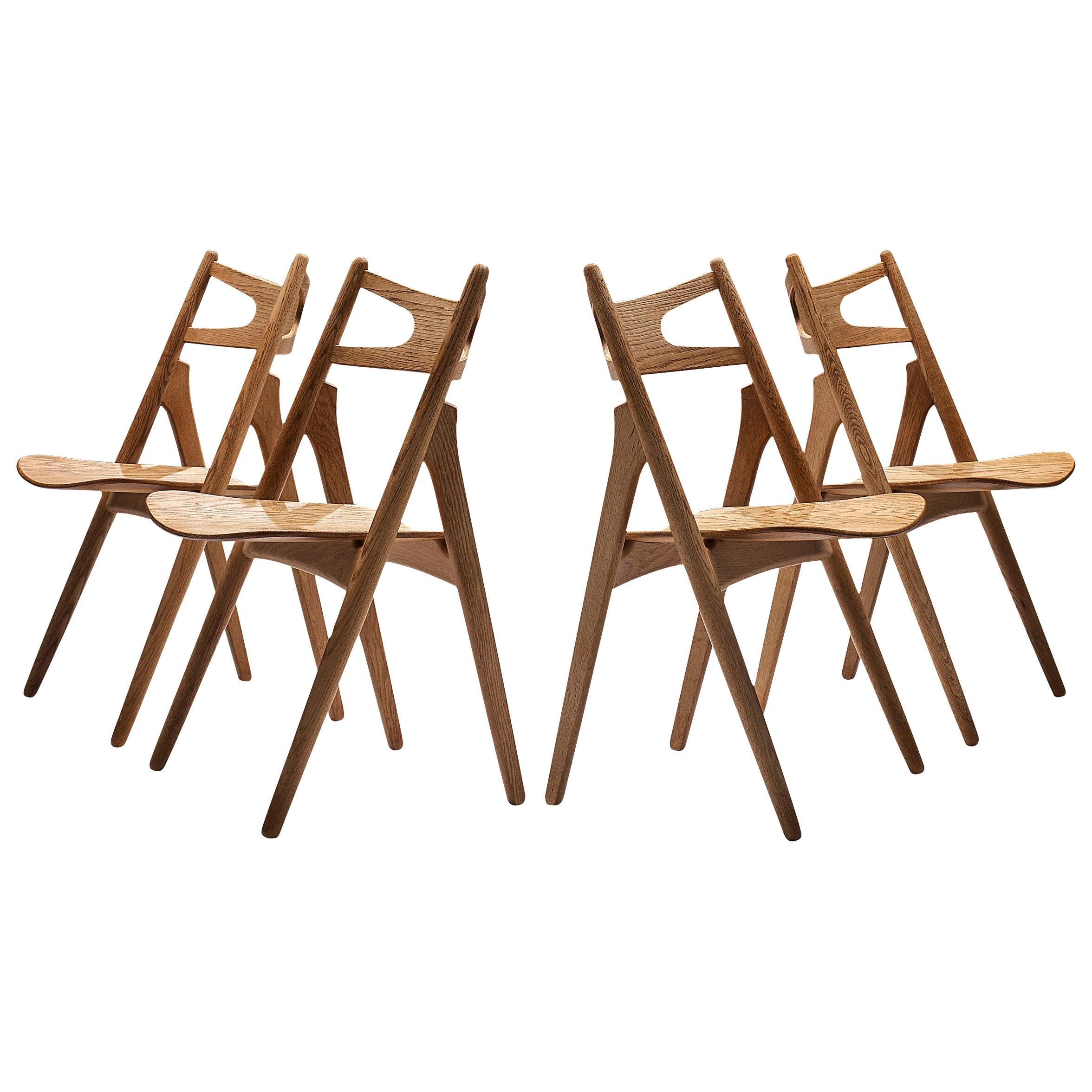 Hans J. Wegner Set of Four 'Sawbuck' CH29 Chairs