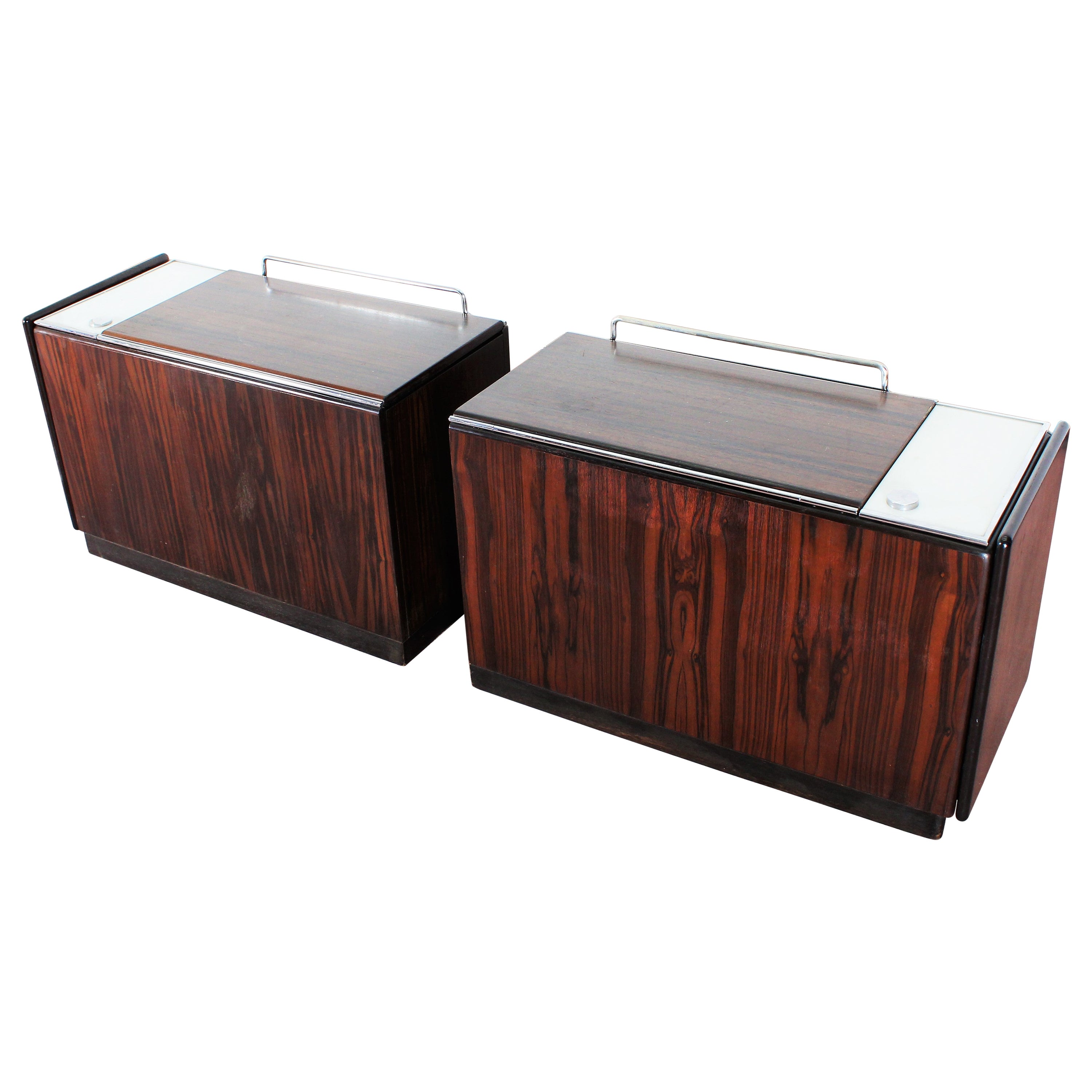 Mid-Century F. Lenci Bernini Pair of Removable Bedside Tables, Italy, 70s