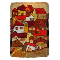 Stunning Large Shag Pile Rug Depicting Houses in the Style of L.S Lowry