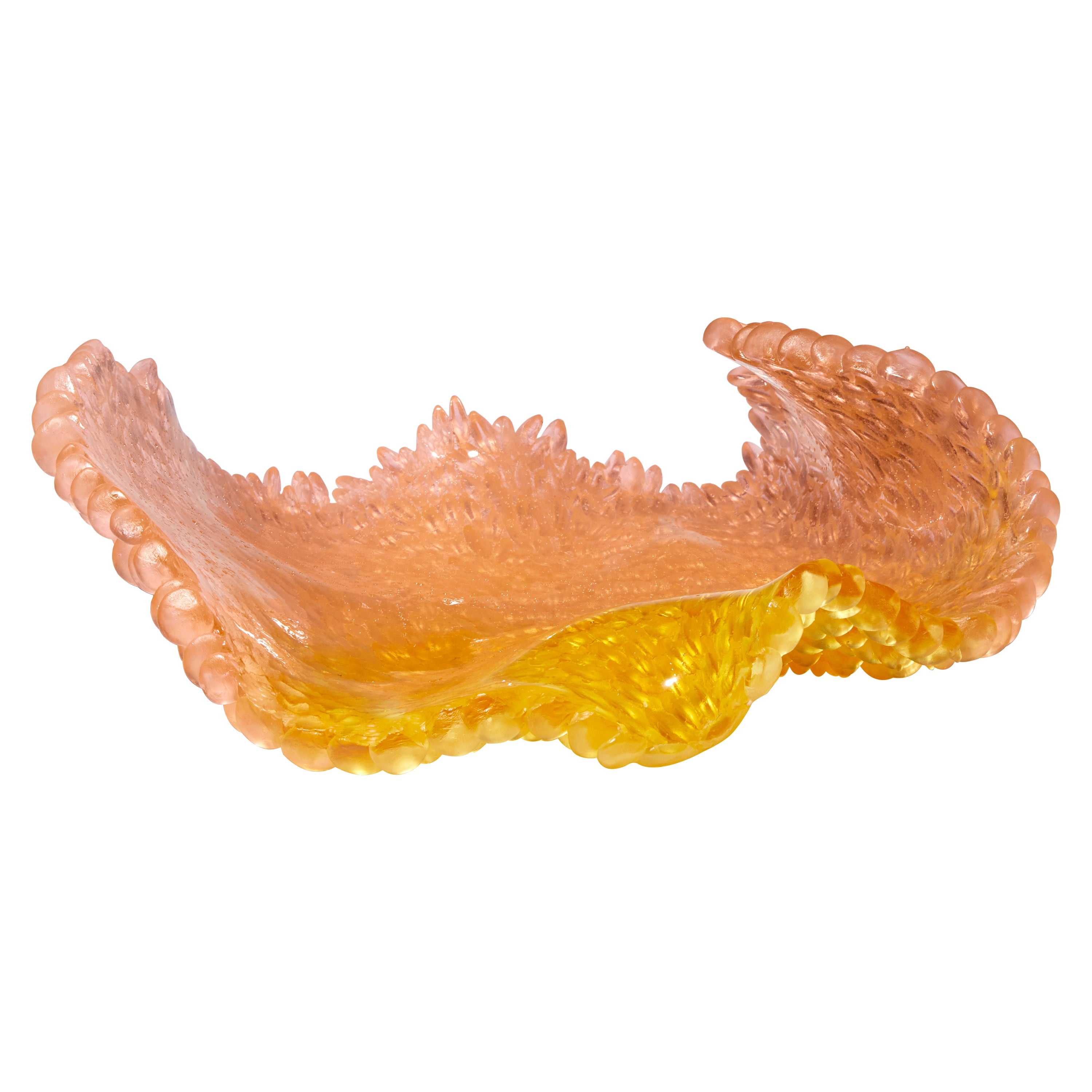 Orange Rose, a Glass Sculpture in Amber, Gold and Peach by Nina Casson McGarva