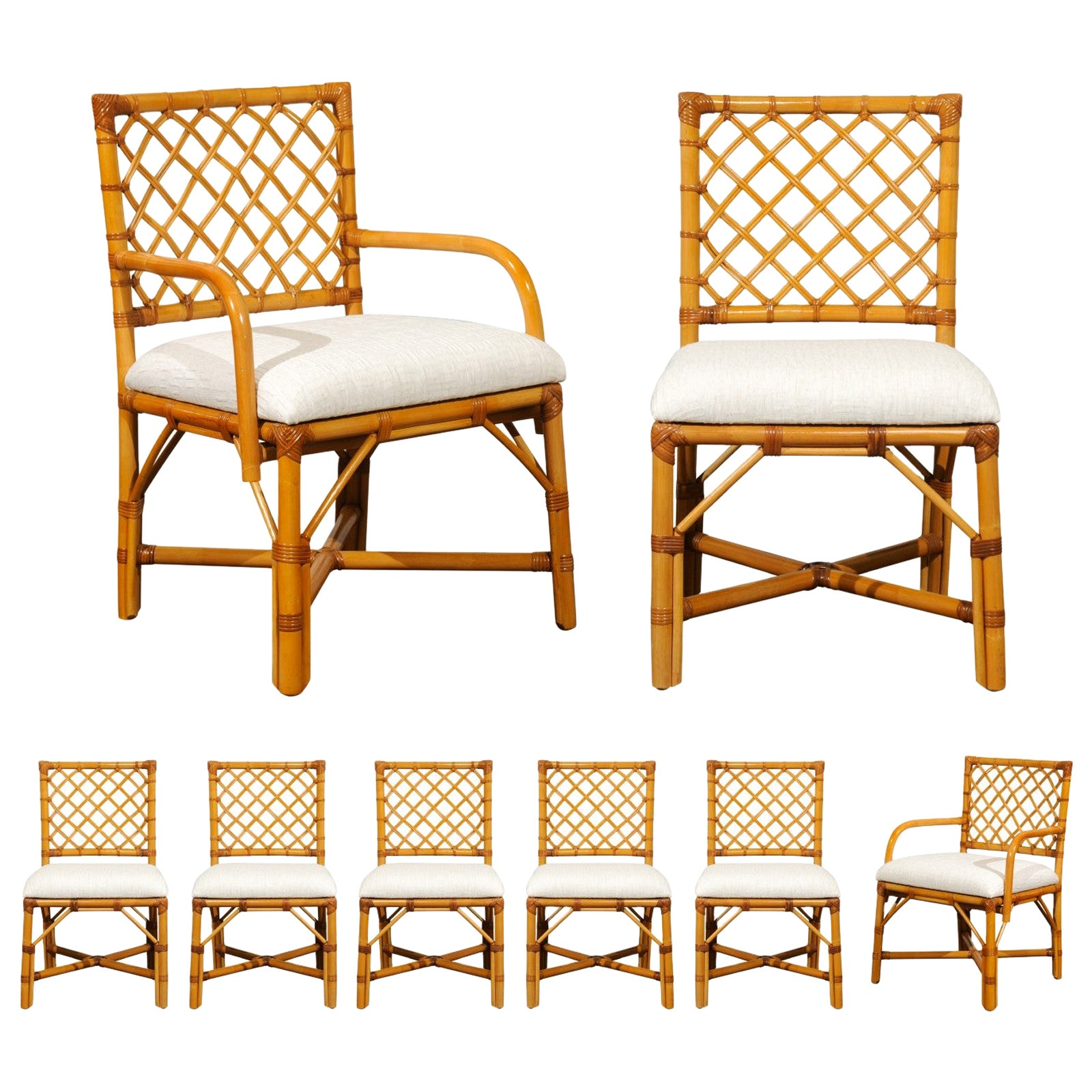 Fabulous Set of 8 Rattan and Cane Dining Chairs by Bielecky Brothers, circa 1975