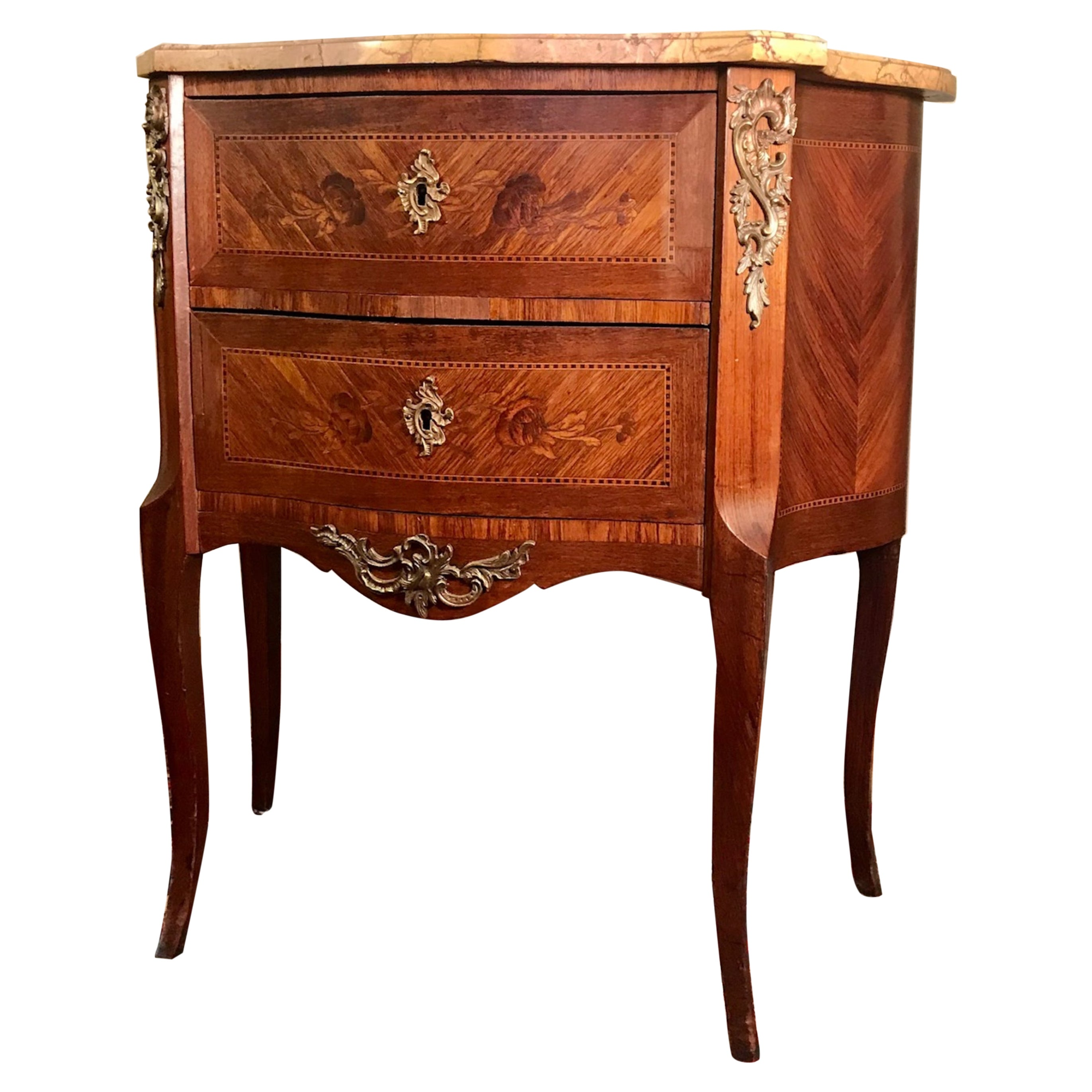 19th C. Louis XVI Style Marquetry 2-drawer Marble Commode
