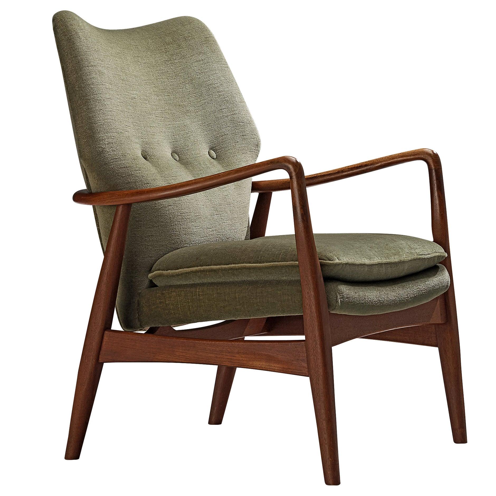 Aksel Bender Madsen for Bovenkamp Teak Lounge Chair in Soft Green Upholstery