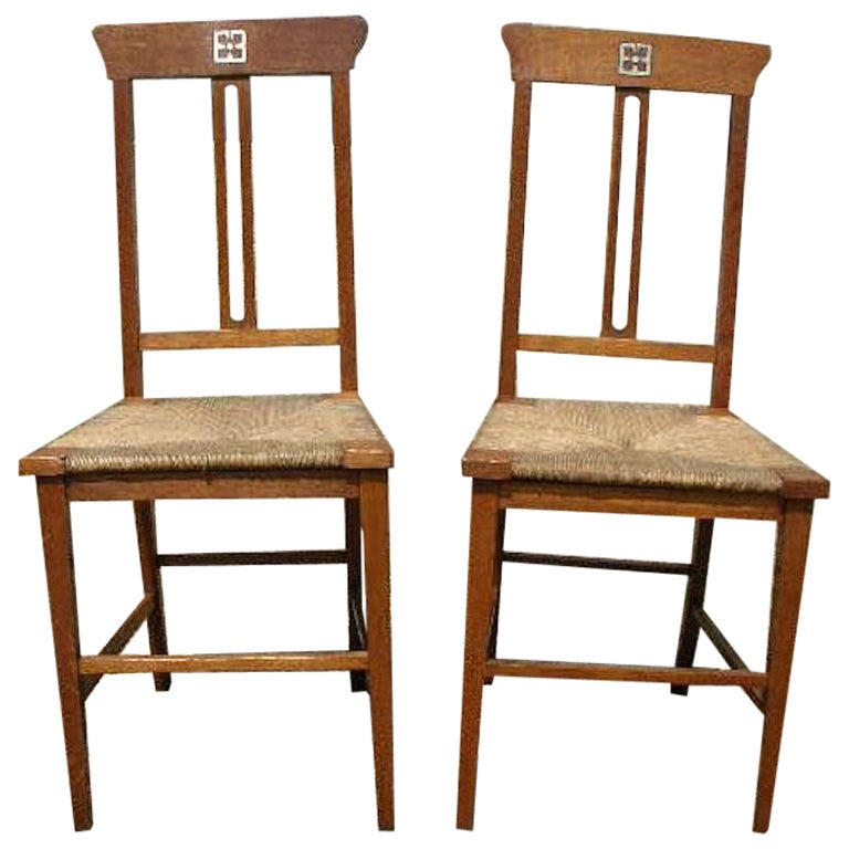 Wylie & Lochhead, a Pair of Glasgow School Oak Arts & Crafts Bedroom Chairs