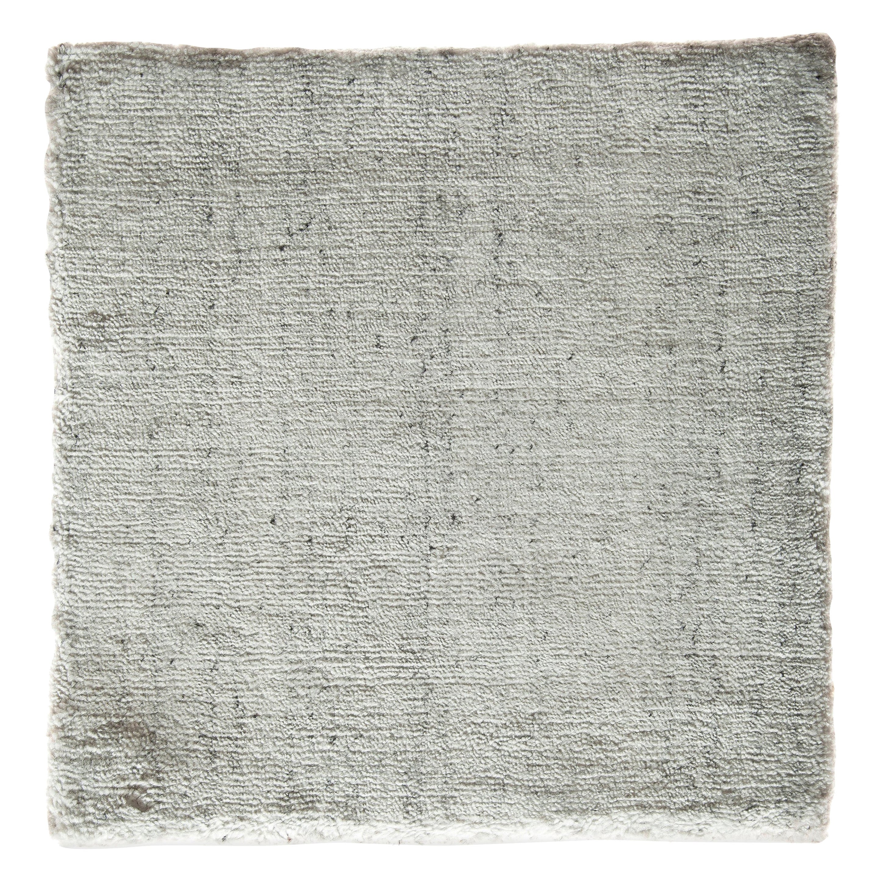 White, Silver, and Gray Striated Bamboo Silk Hand-Loomed Contemporary Rug