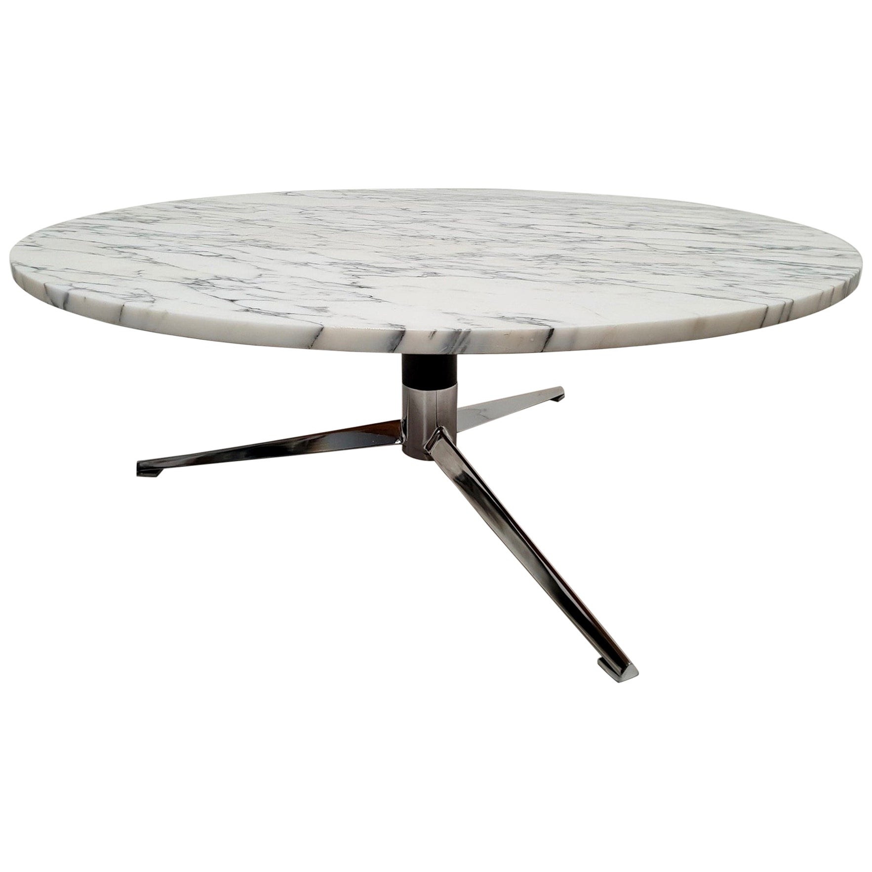 Midcentury Italian Modern Polished Metal and Marble Round Circular Coffee Table