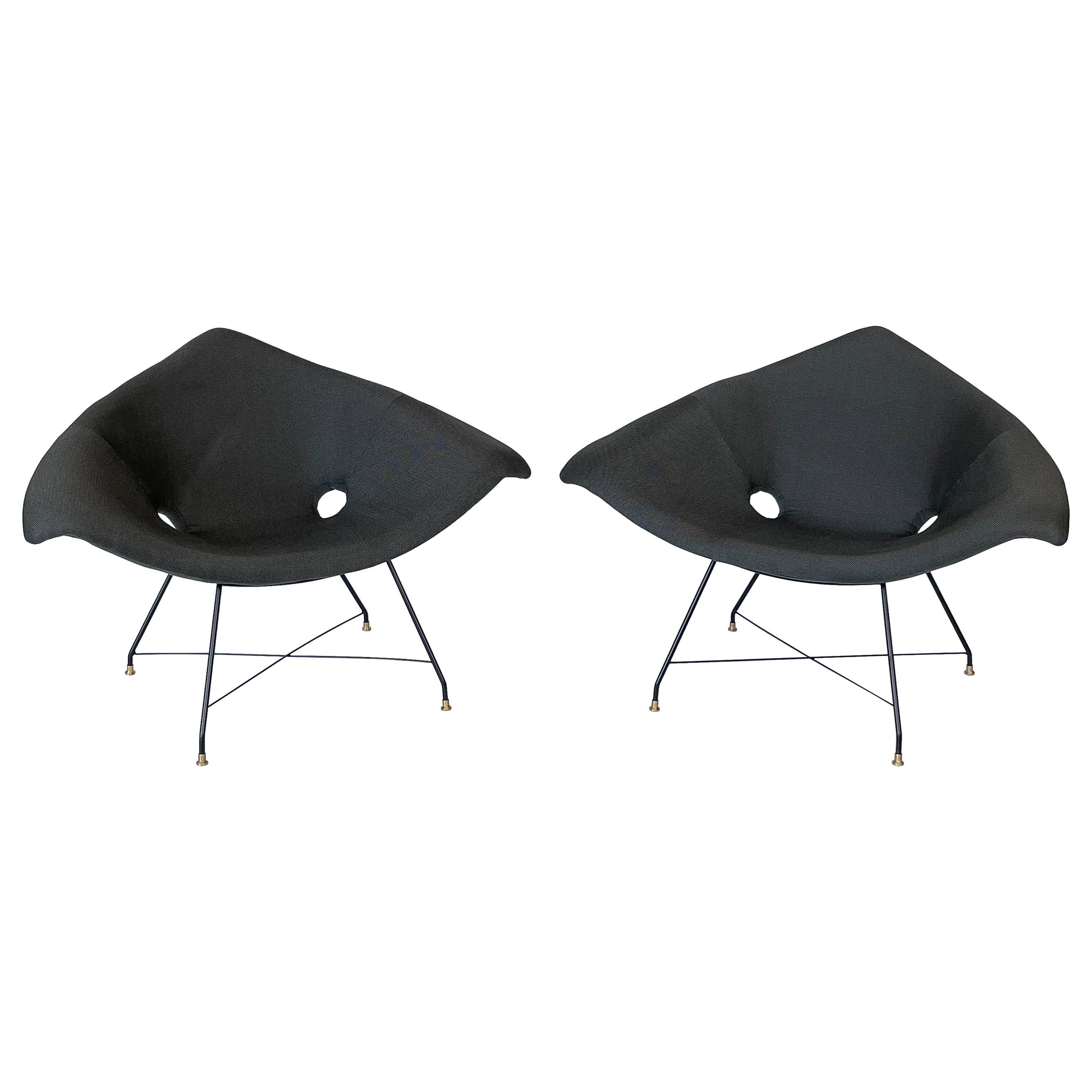 Pair of Augusto Bozzi Cosmos Lounge Chairs for Saporiti