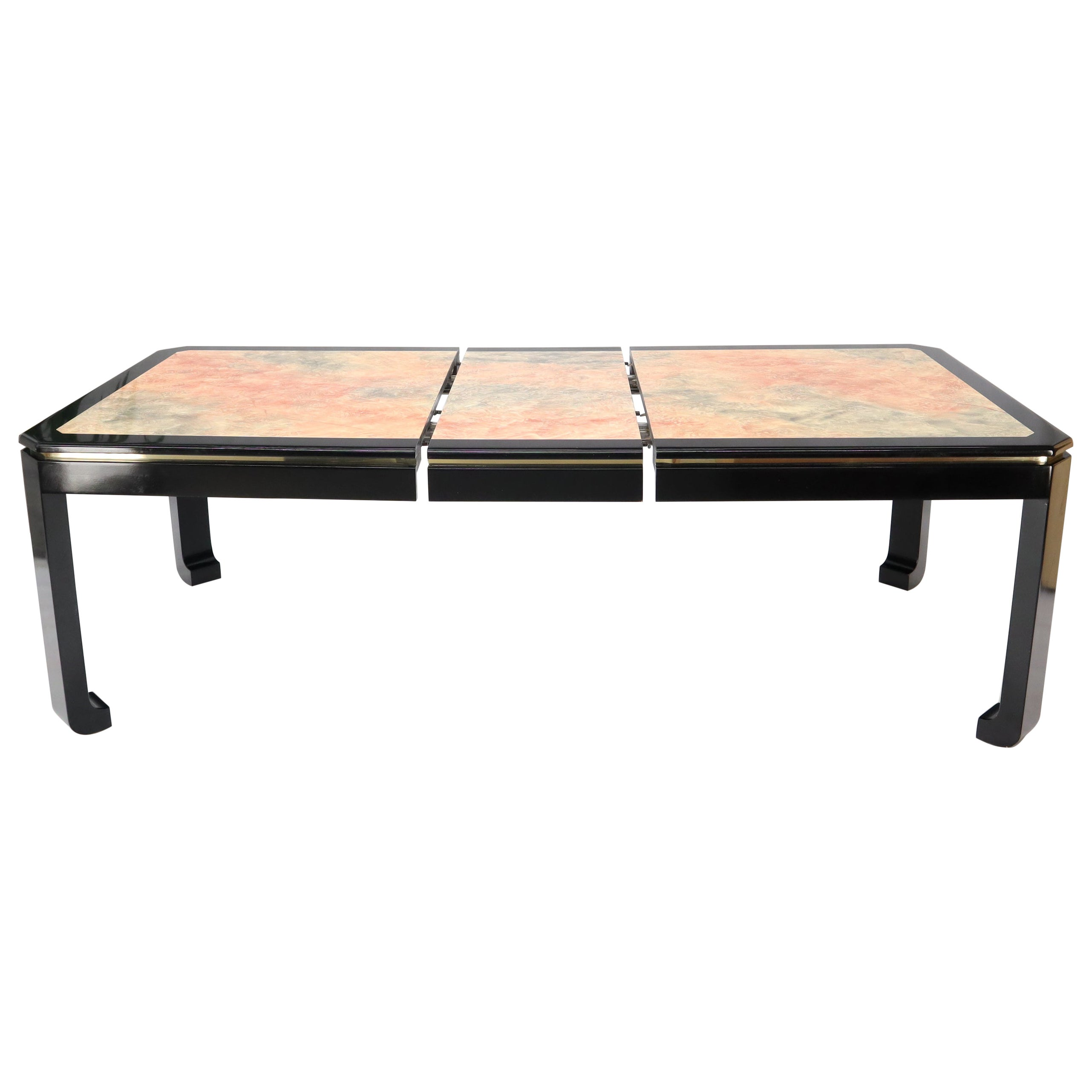 Black Lacquer Faux Stone Marble Finish Dining Table with Leave Extension Board