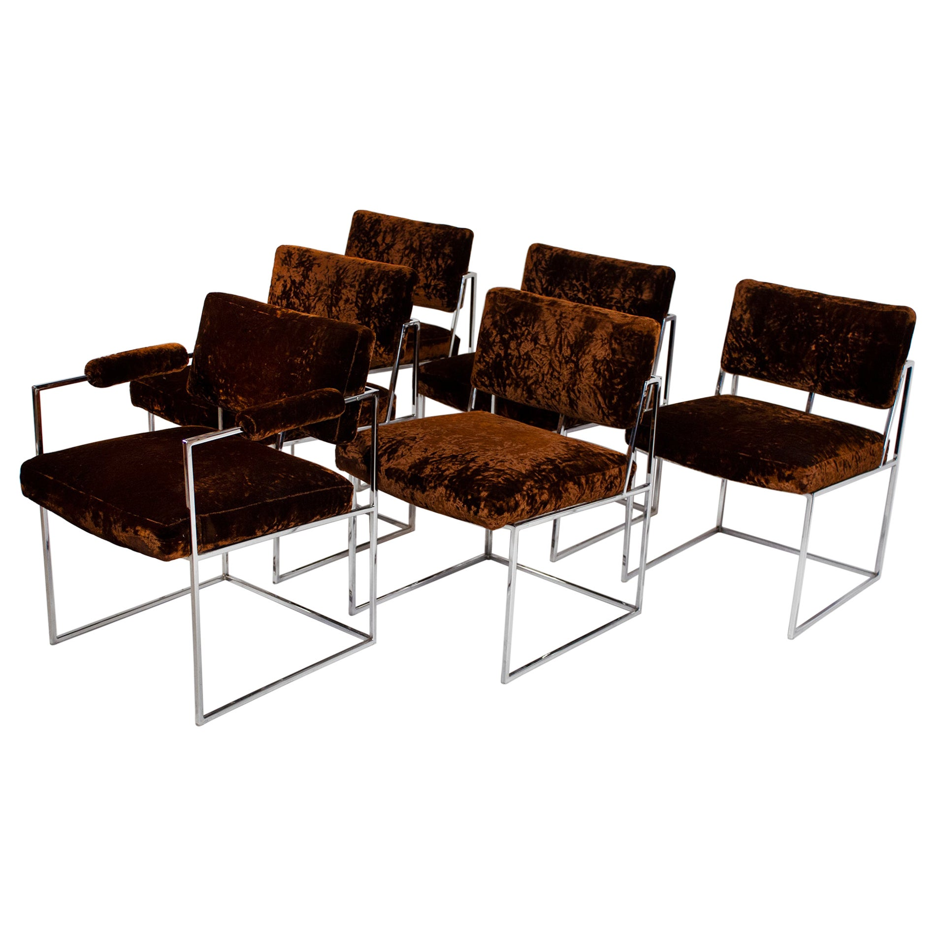 Set of 6 Milo Baughman Dining Chairs for Thayer Coggin 1960s Chrome and Velvet