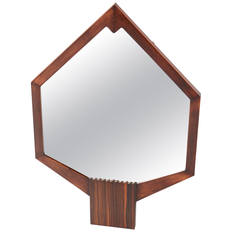 Mahogany Art Deco Amsterdam School Wall Mirror, 1920s