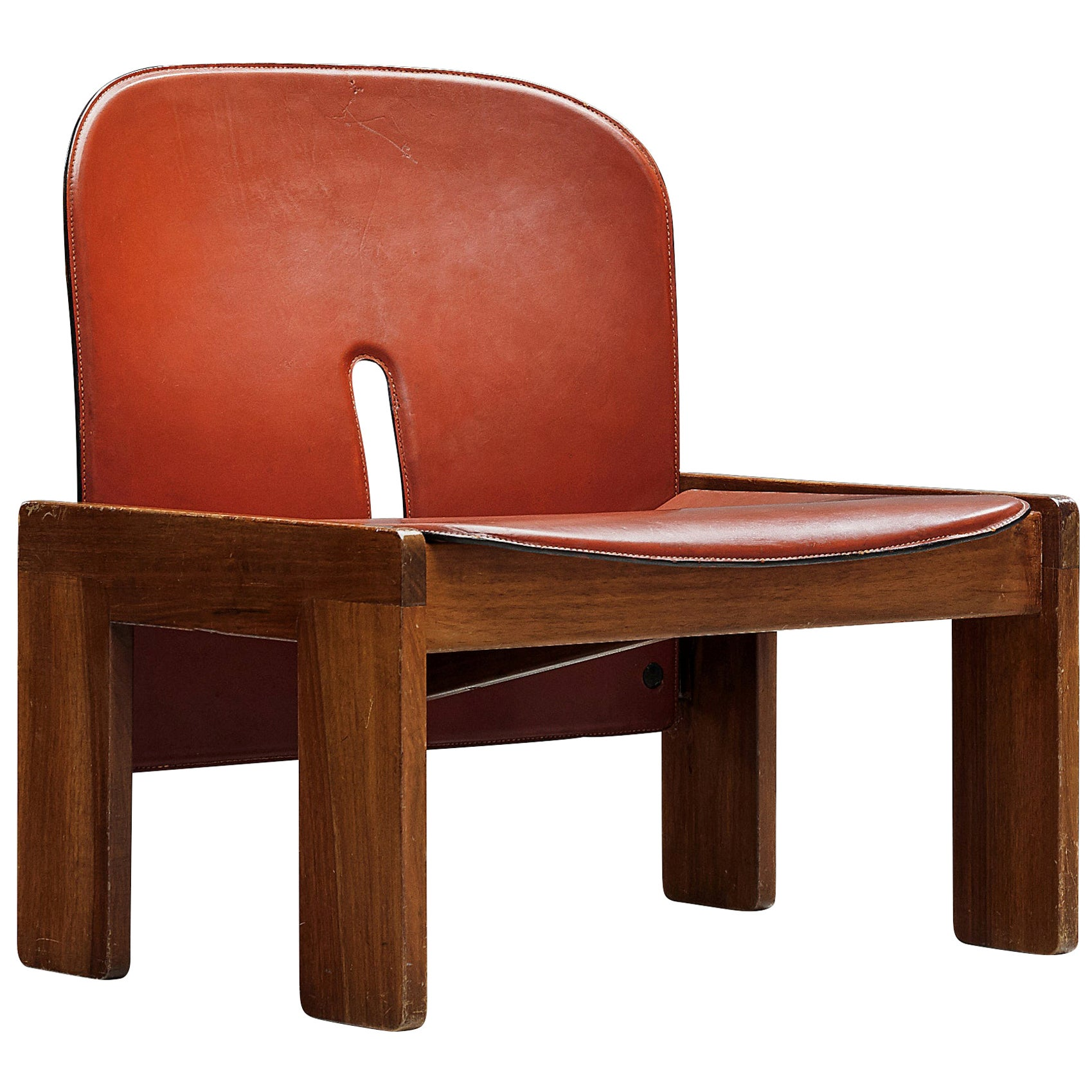 Afra & Tobia Scarpa Lounge Chair Model '925' in Walnut and Red Leather