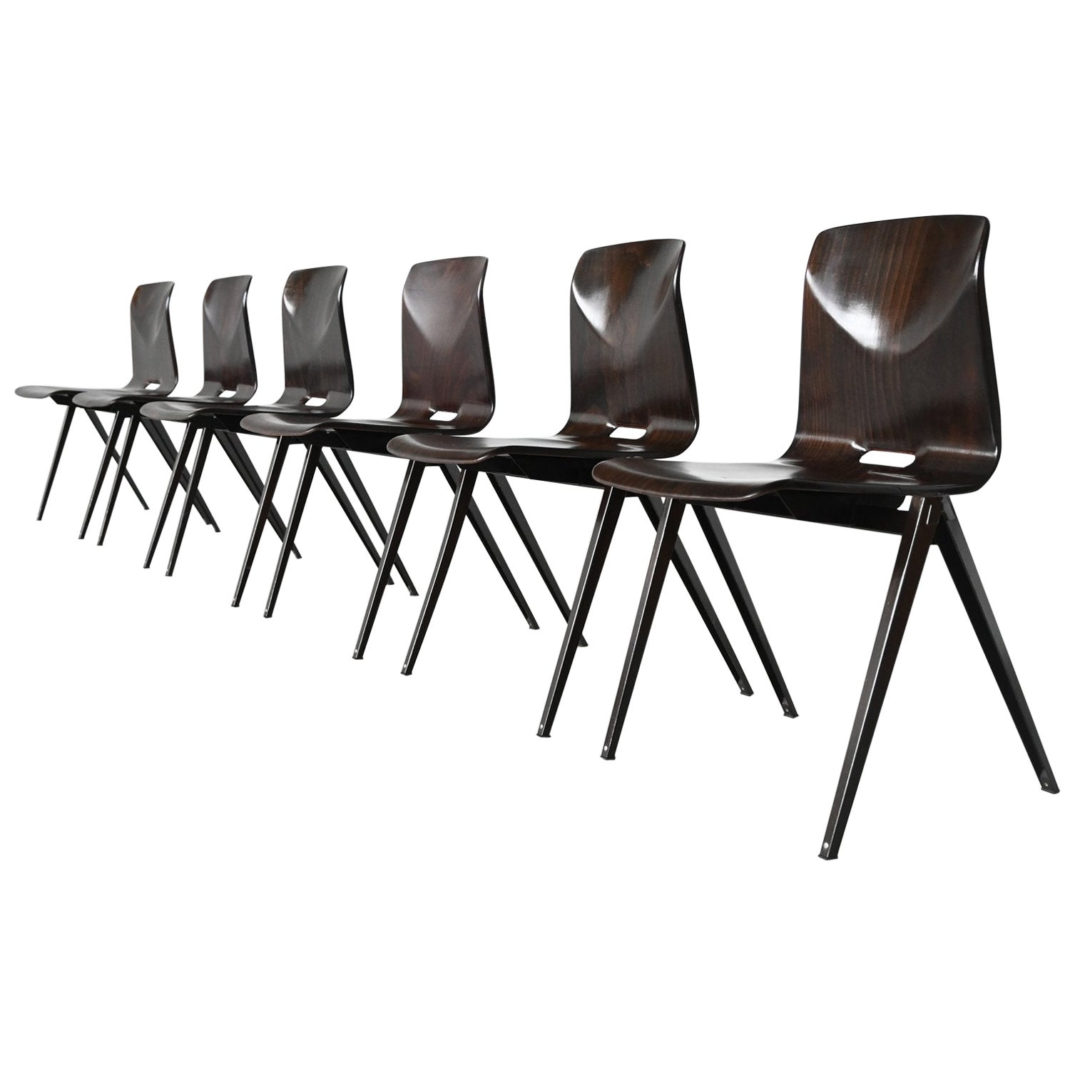 Elmar Flototto Model S22 Stacking Chairs Pagholz, Germany, 1970