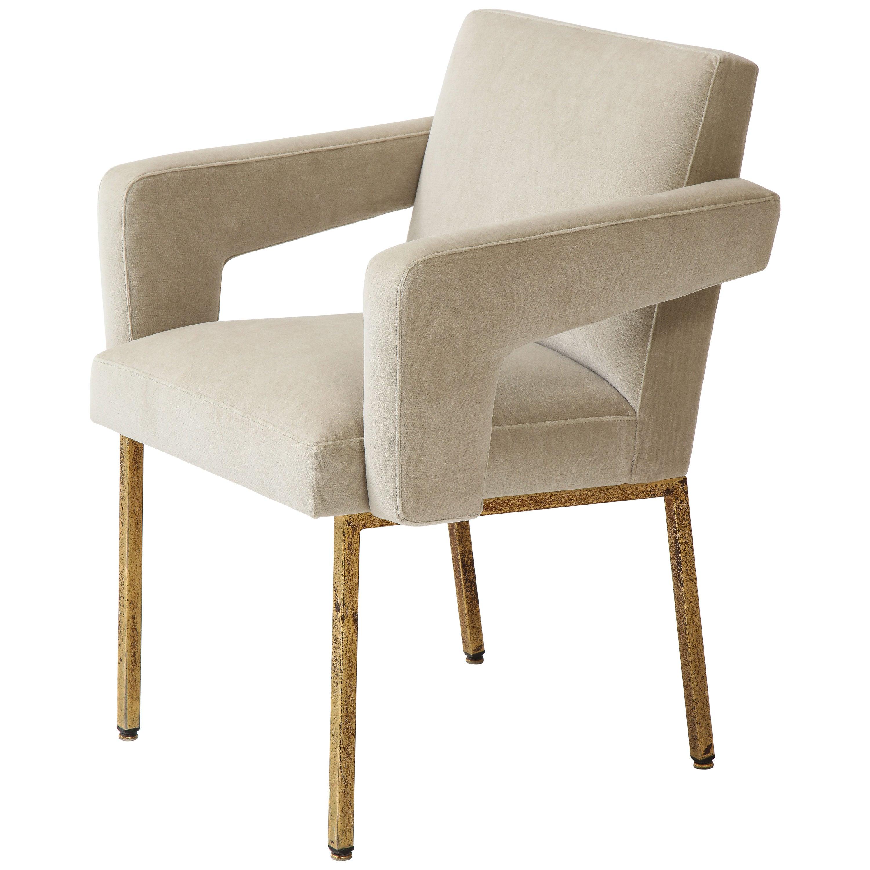 Jacques Adnet President Chair Brass, Re-Upholstered Grey Velvet, France, 1959