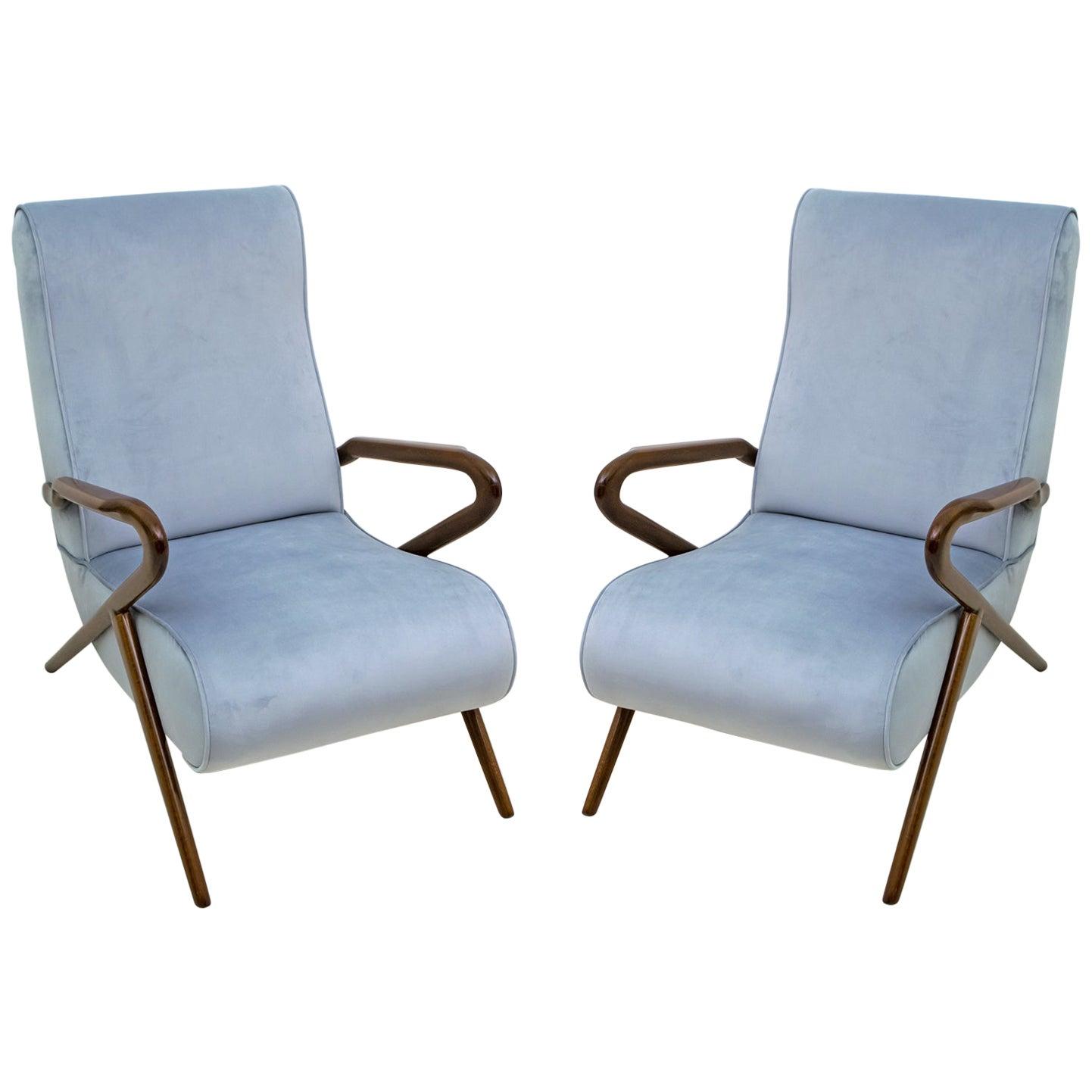 Pair of Carlo de Carli Mid-Century Modern Italian Velvet Armchairs, 1960s