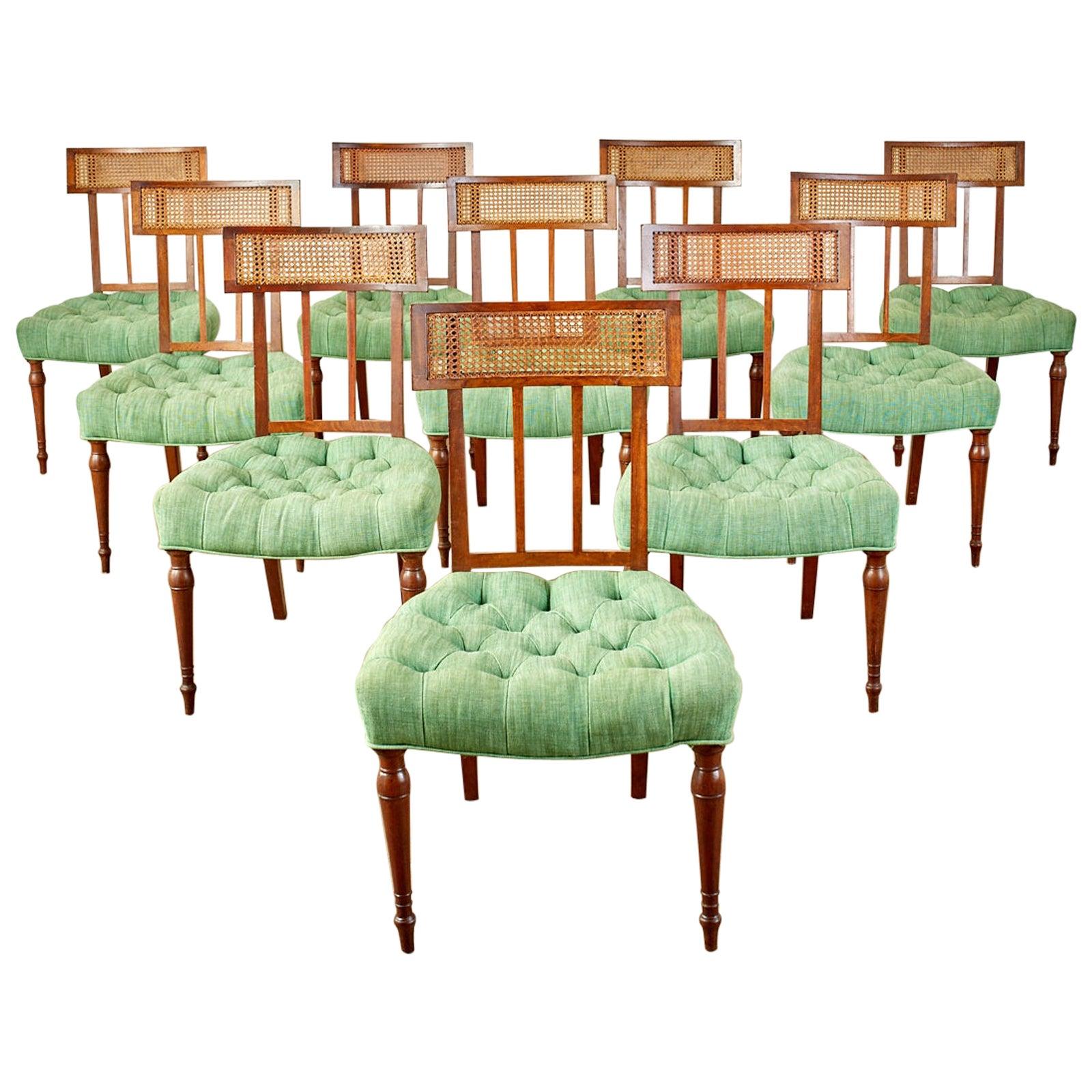 Set of Ten English Regency Mahogany Caned Dining Chairs