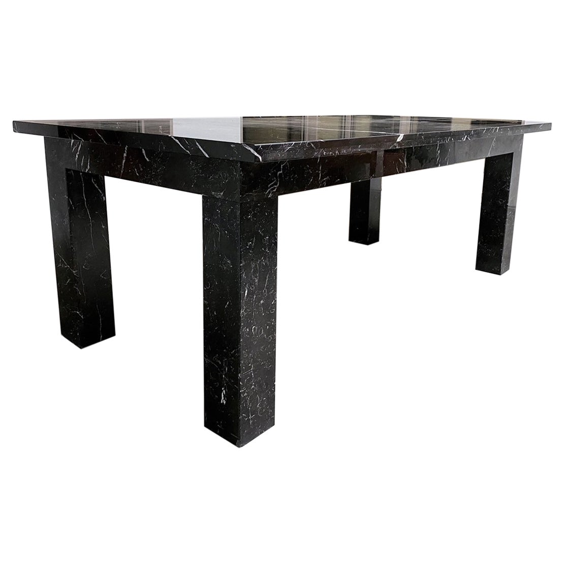 Beautiful Black and White Custom Marble Conference Dining Table, 2000s