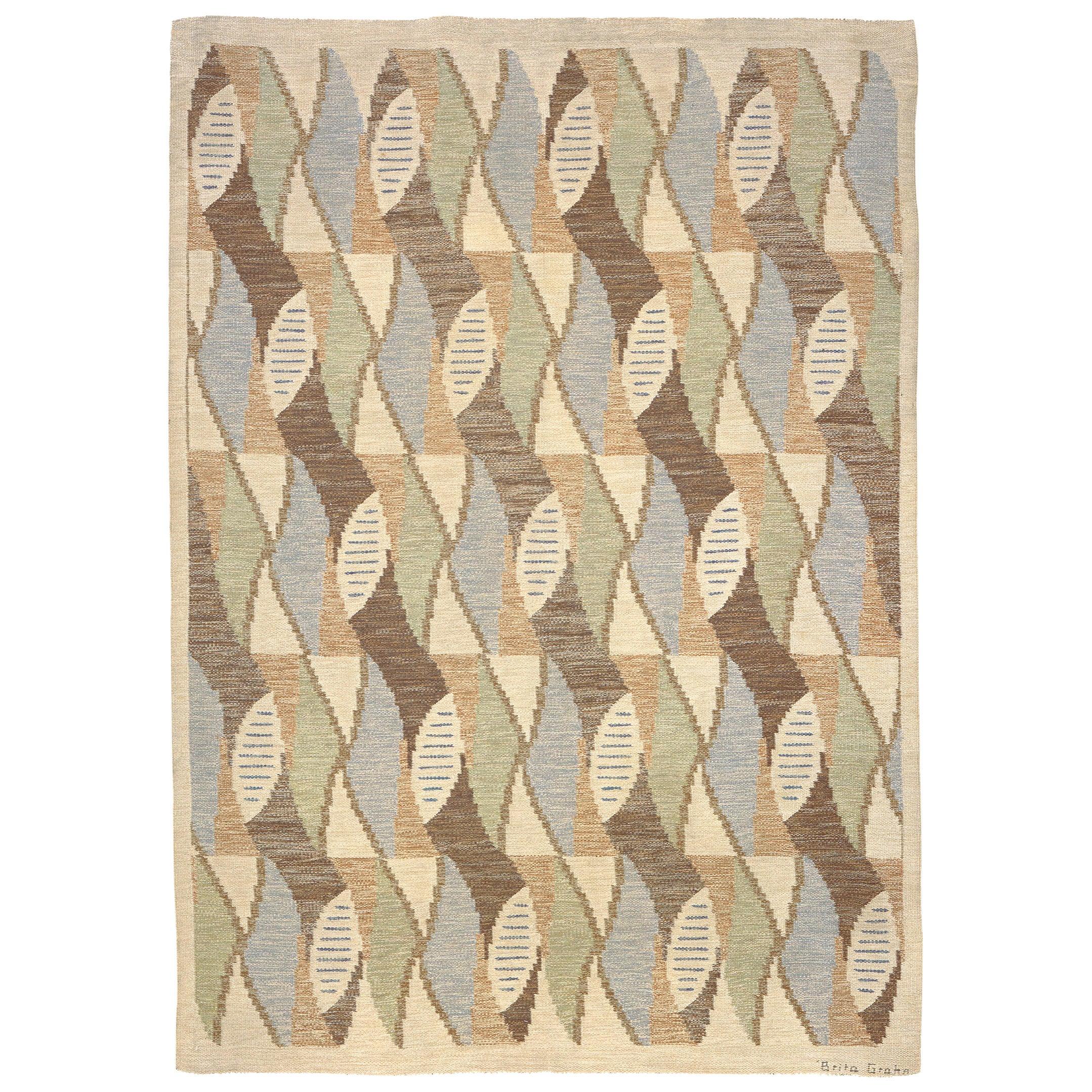 Mid-20th Century Swedish Flat-Weave Rug by Brita Grahn