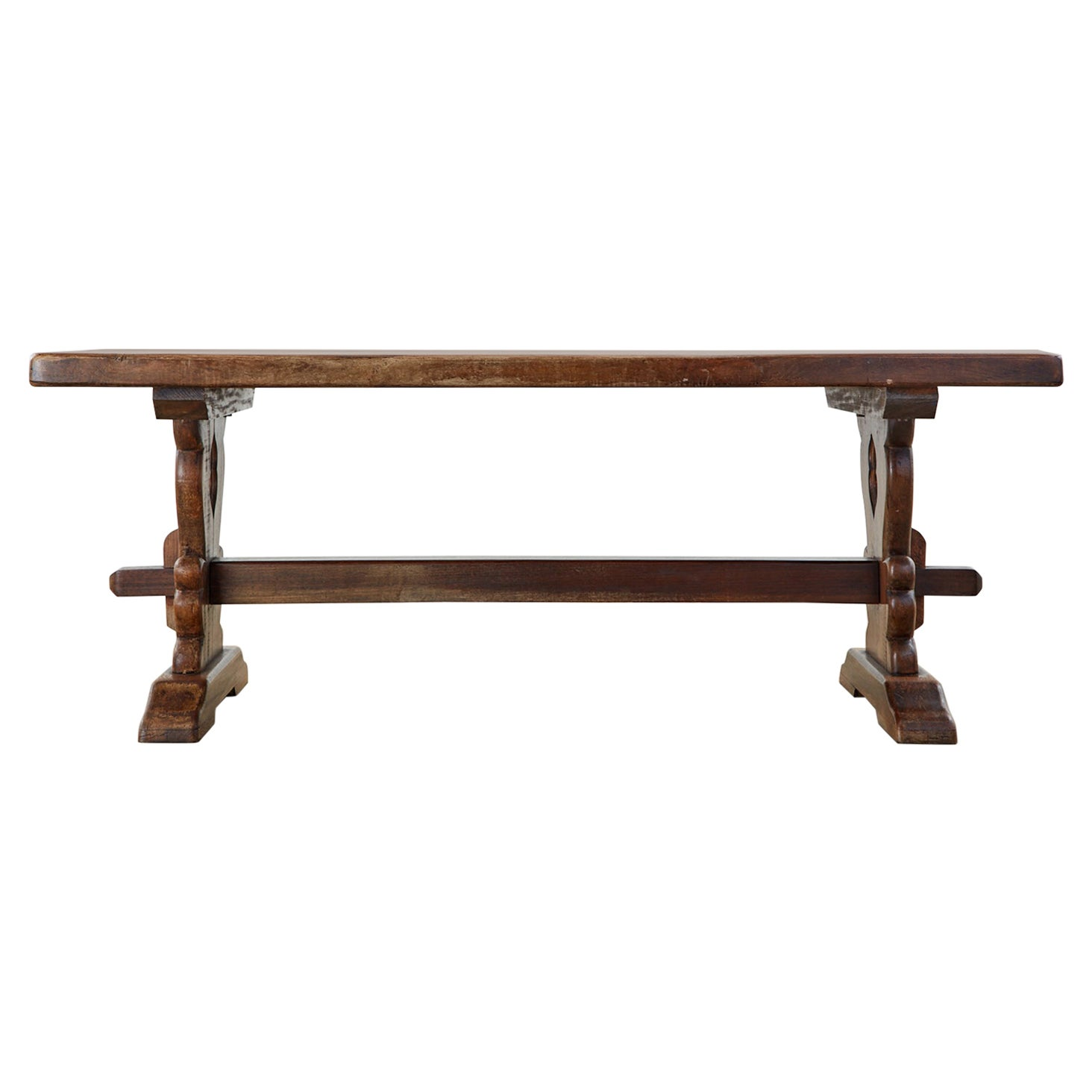 19th Century Country French Oak Farmhouse Trestle Dining Table