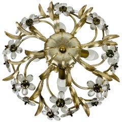 Golden Florentine Flower Shape Flushmount Attributed to Banci Firenze, 1960s