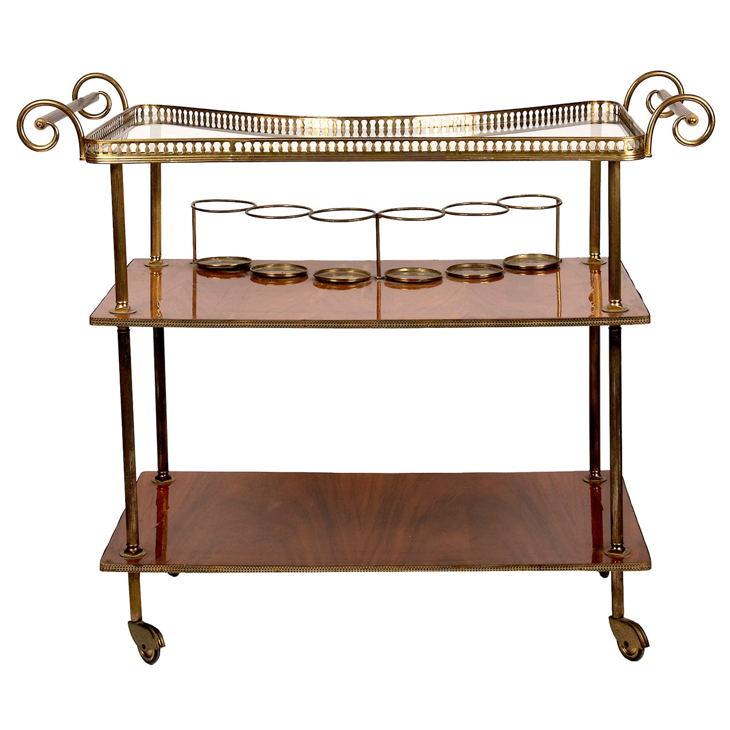 Vintage Continental Brass and Wood Bar Cart
