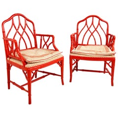 Pair of Vintage Faux Orange Bamboo Armchairs