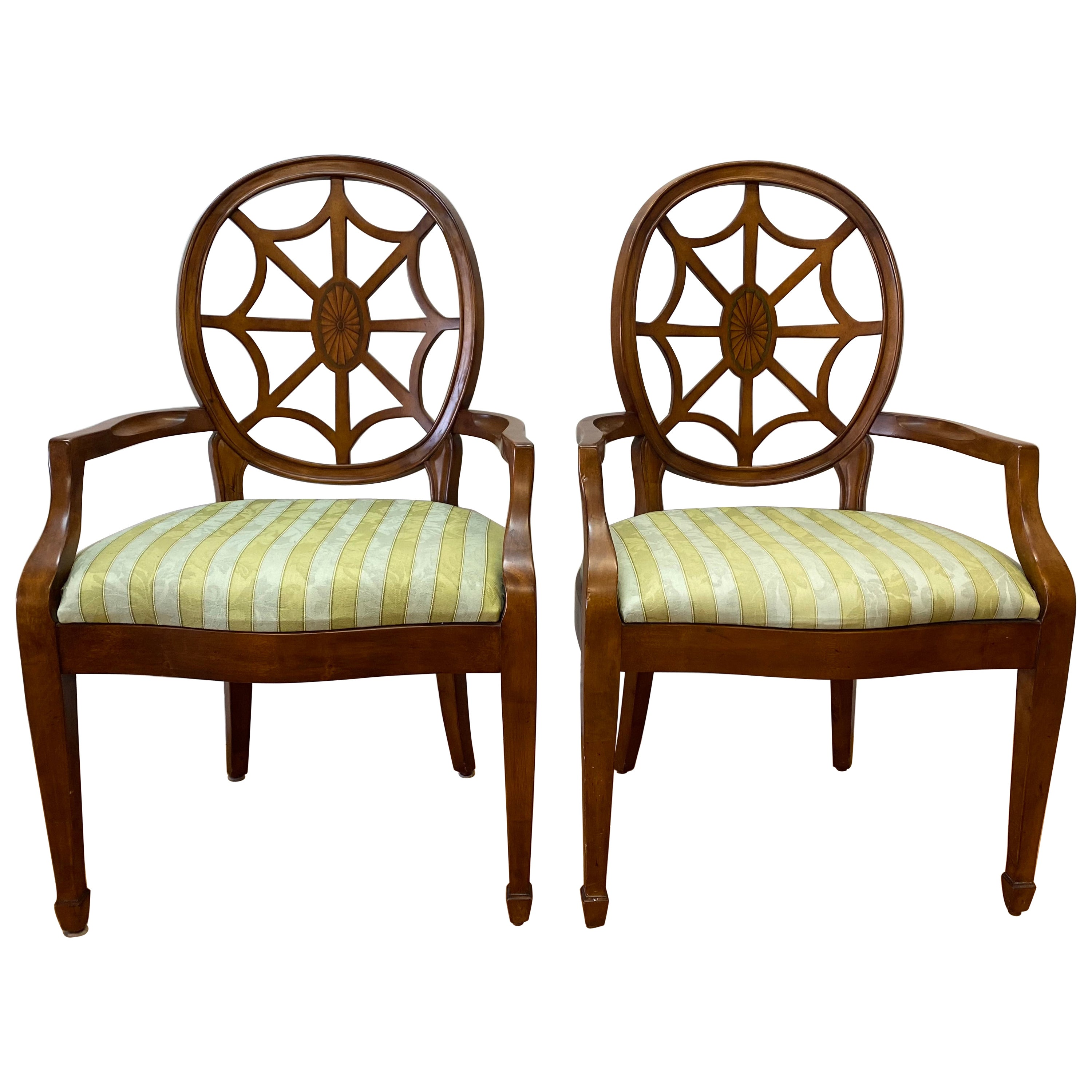 Pair of Contemporary Walnut Framed Upholstered Armchairs with Inlay
