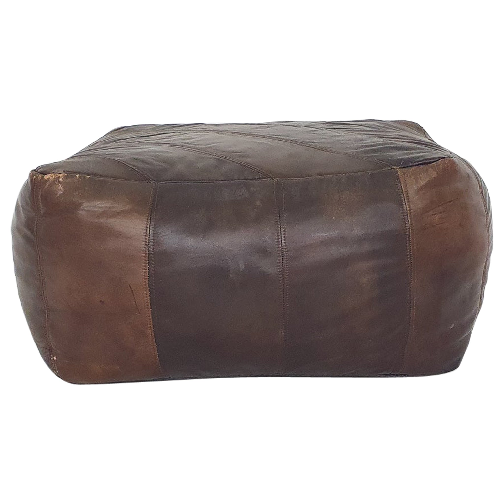 Square Leather Patchwork Poof or Ottoman, 1960s